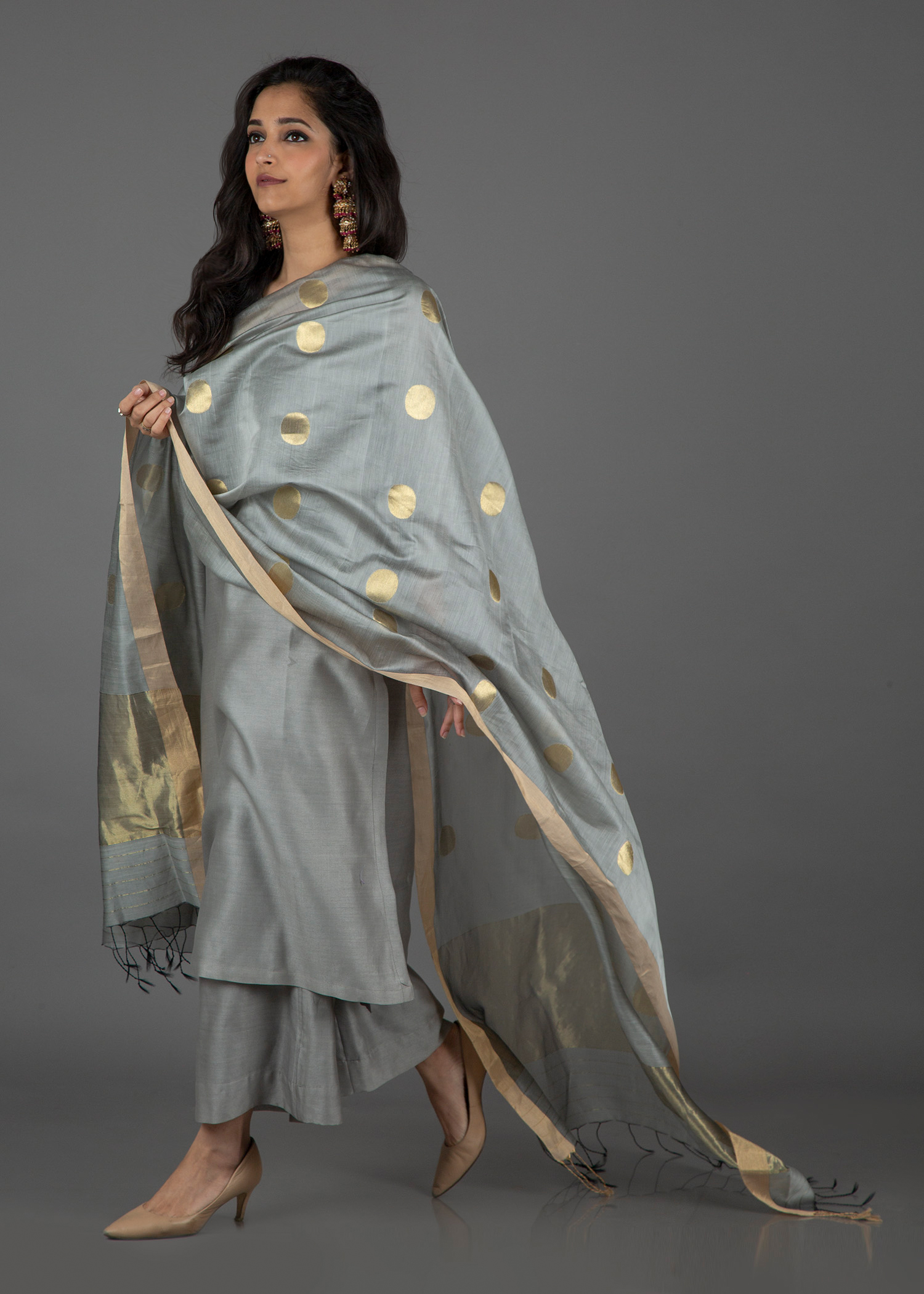 Grey & Gold Sikka Booti Silk Chanderi Dupatta with Zari Handwork