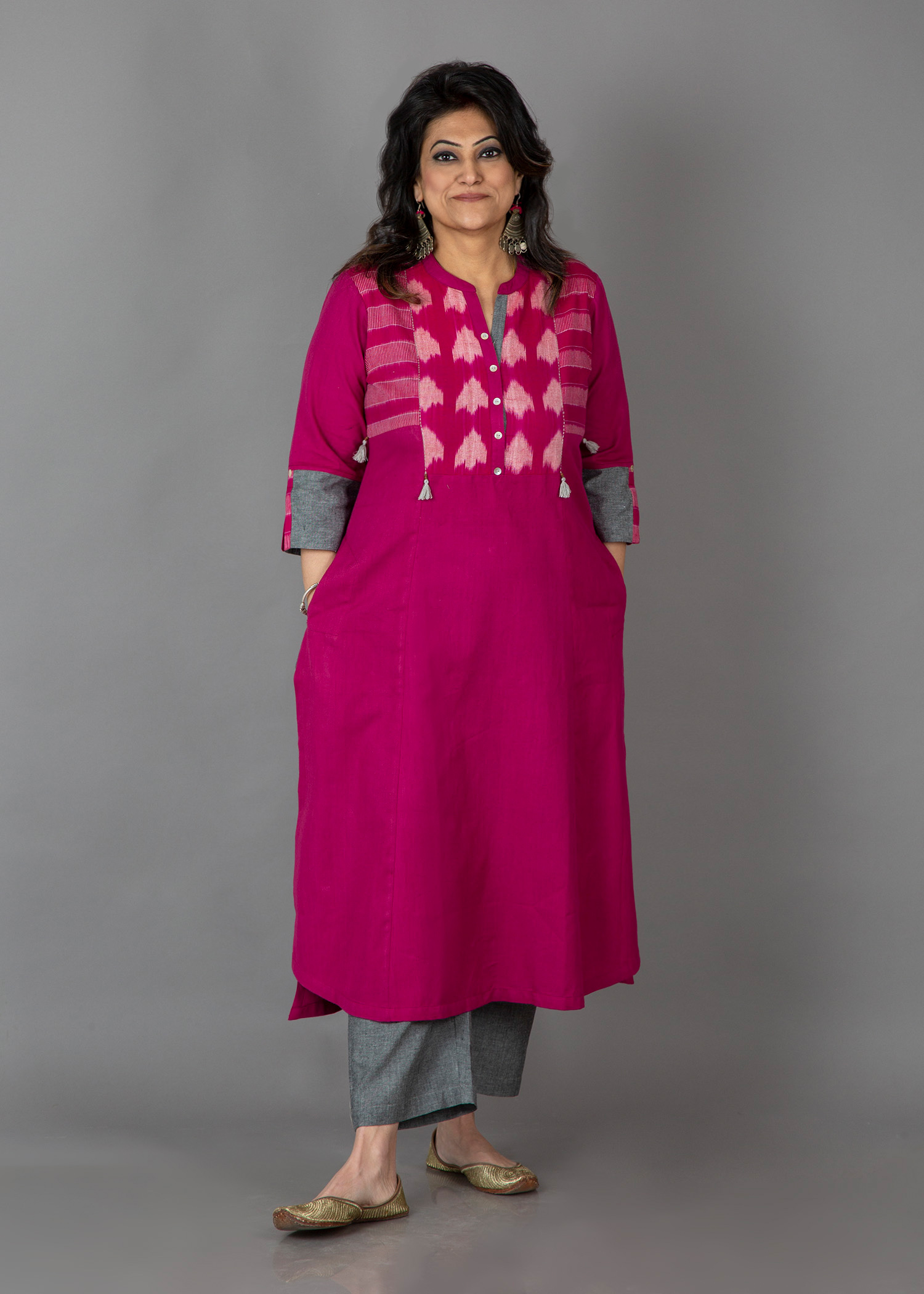 Magenta & Grey Handwoven Cotton & Ikat Kurta