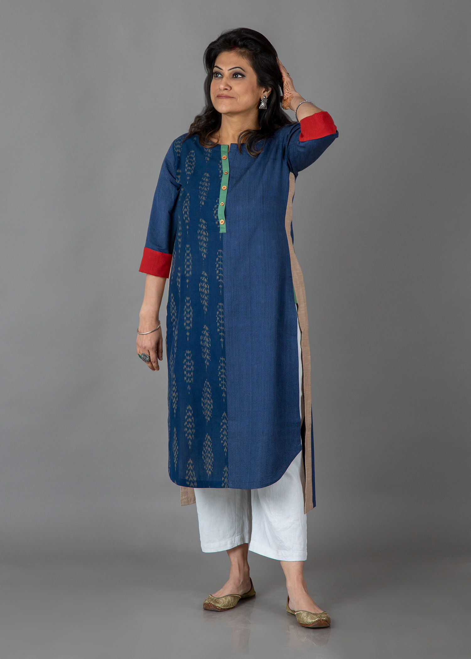 Ink Blue Handwoven Cotton & Ikat Kurta