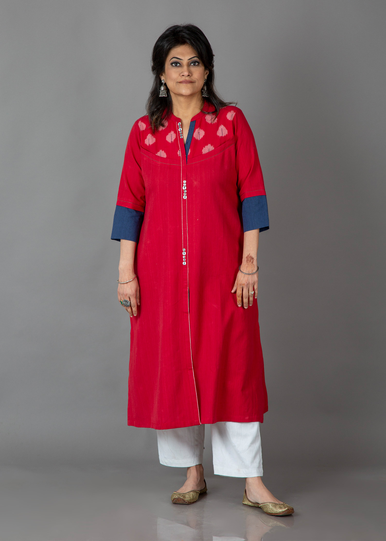 Watermelon Red Handwoven Cotton & Ikat Kurta