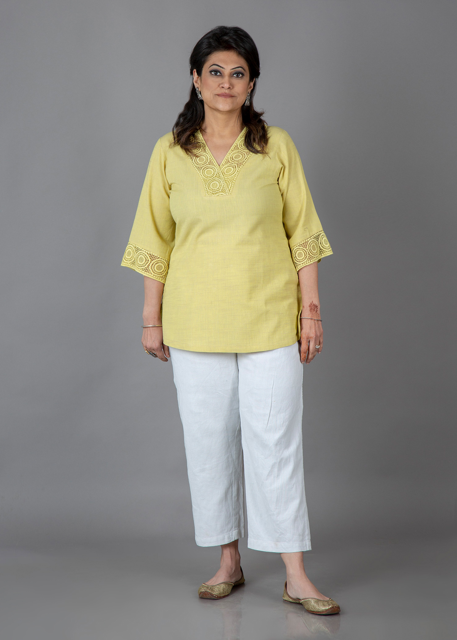 Butter Lace Handwoven Slub Cotton Top