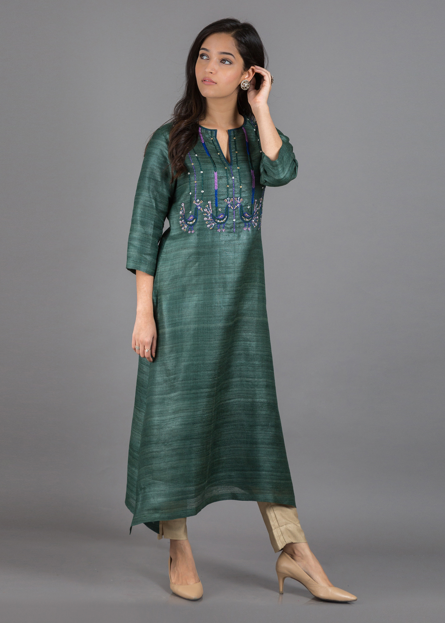 Bottle Green Bhagalpuri Handwoven Silk Kurta with Hand-Embroidered Peacocks