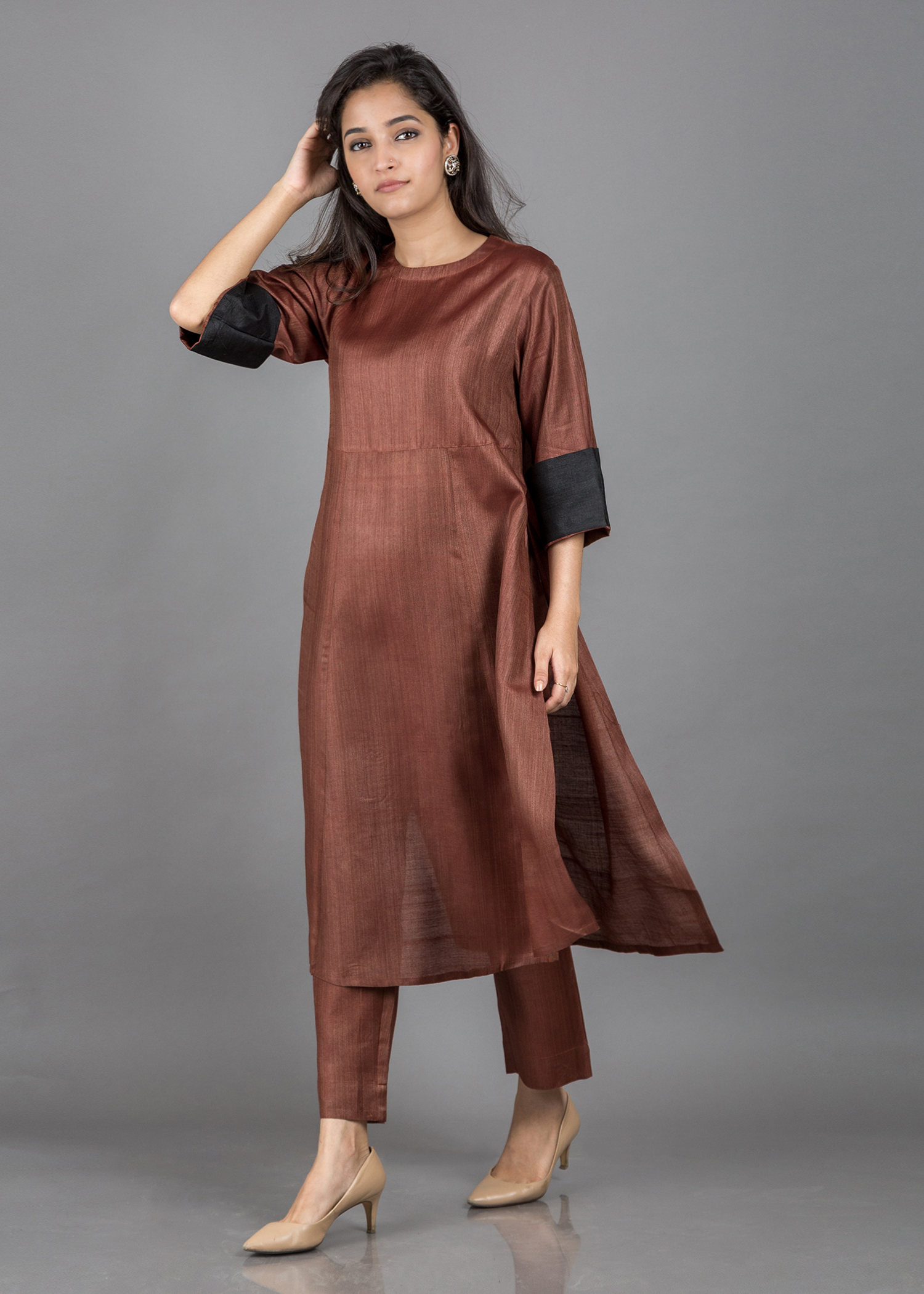 Mocha Brown Silk Cotton Ensemble