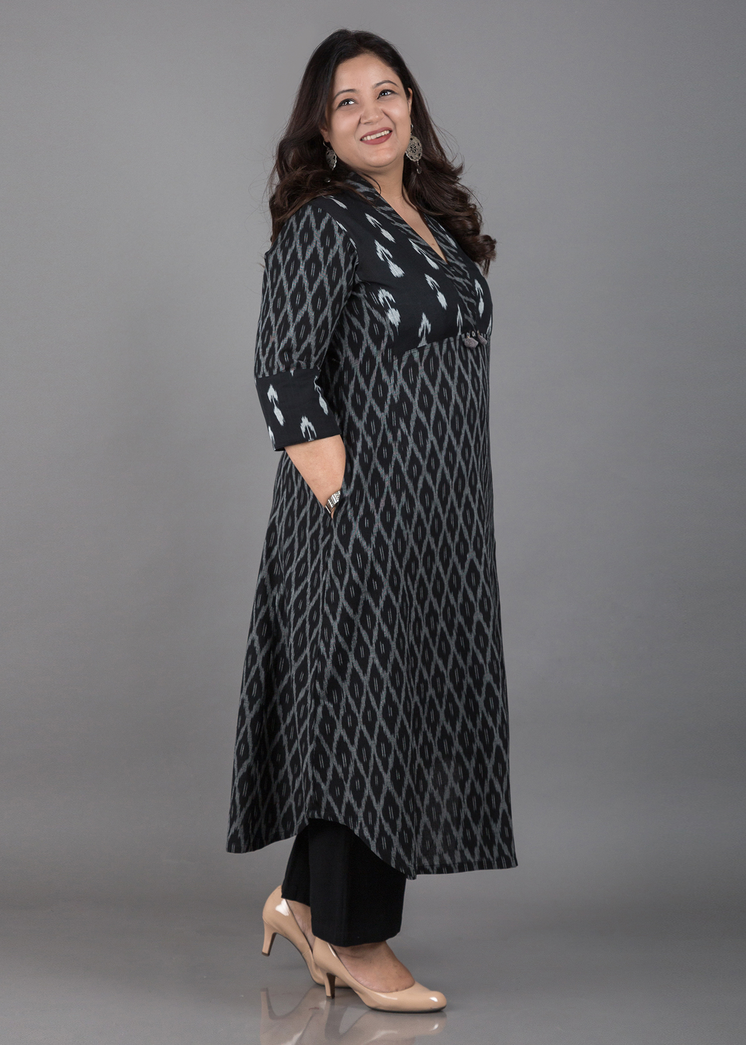 Black & Grey Mercerized Double-Weave Ikat Kurta with Handmade Tassels
