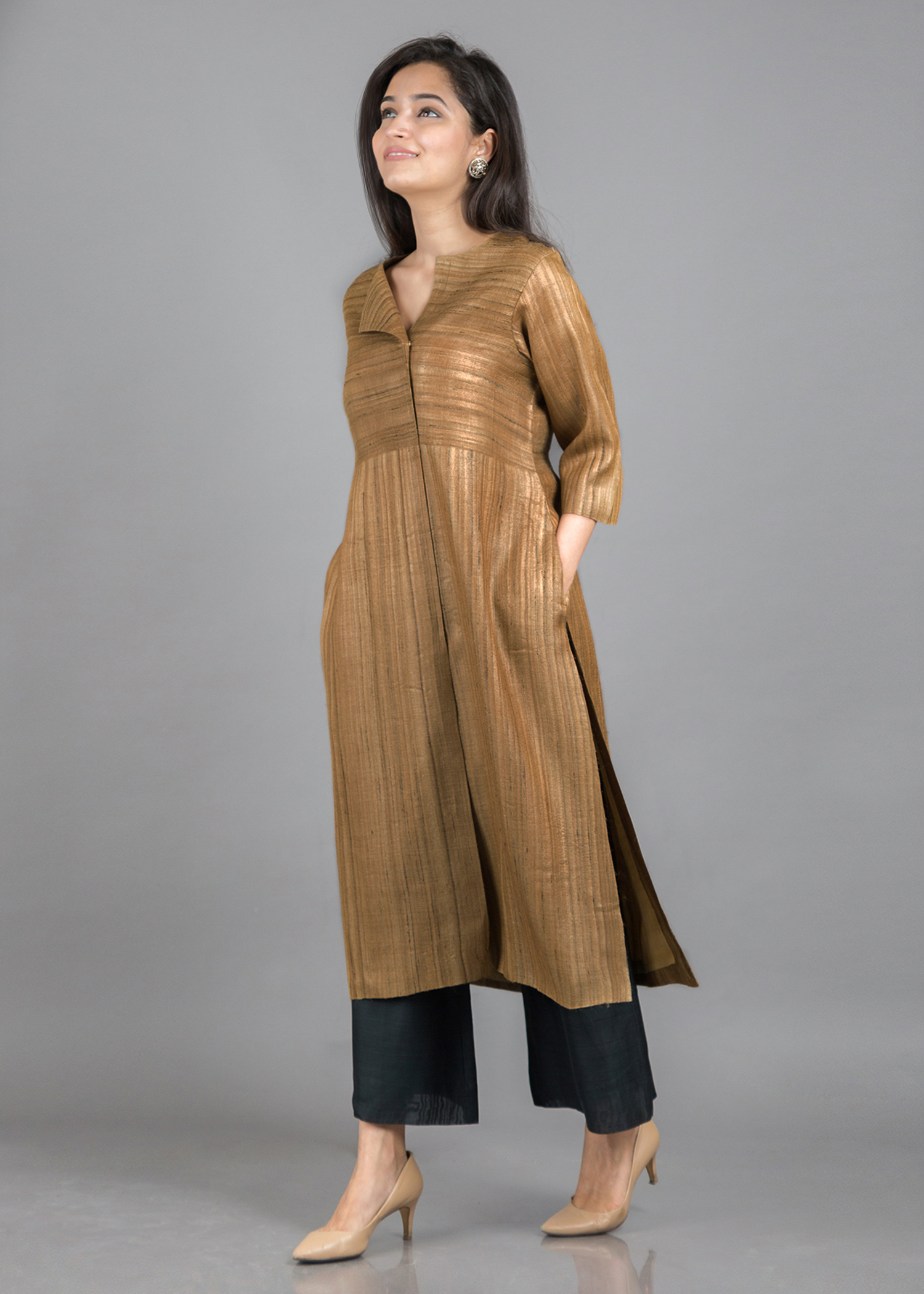 Gold Beige Handwoven Pure Kosa Silk Kurta with Flap