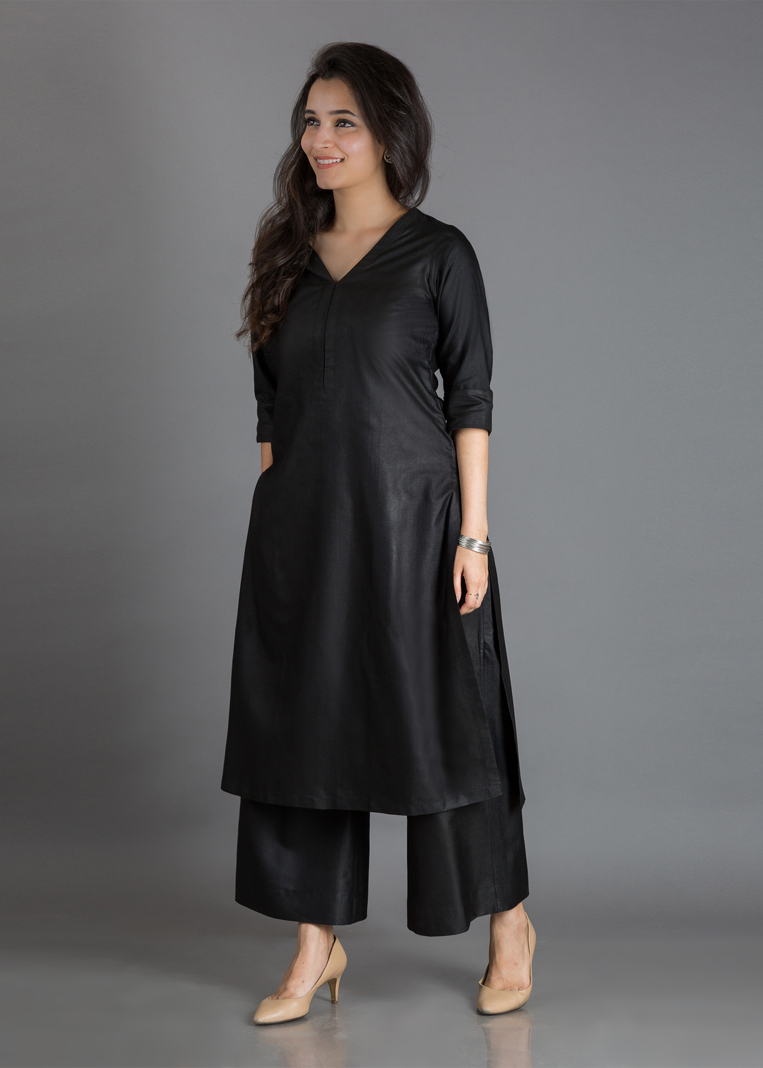 Black Silk Cotton Kurta - V Neck