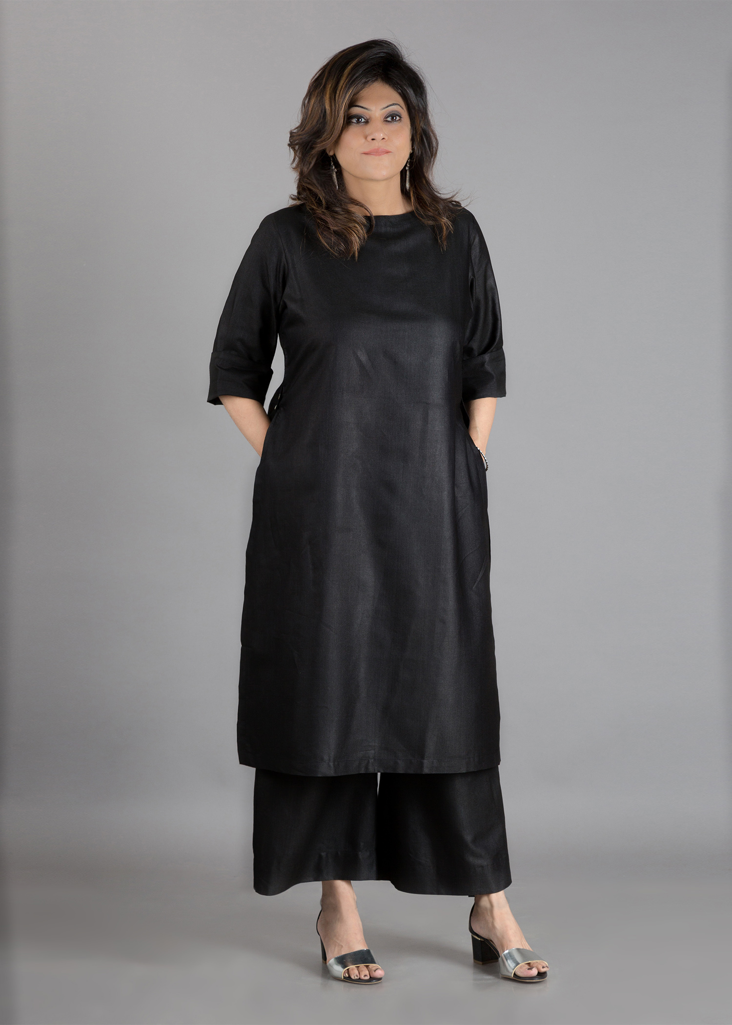 Black Silk Cotton Kurta - Round Neck