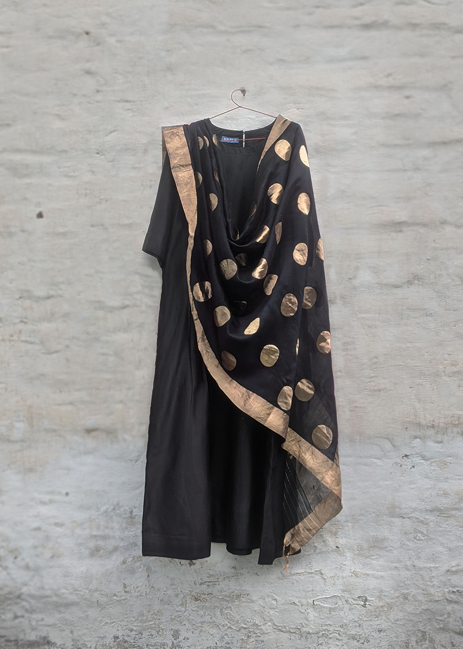 Black & Gold Sikka Booti Silk Chanderi Dupatta with Zari Handwork