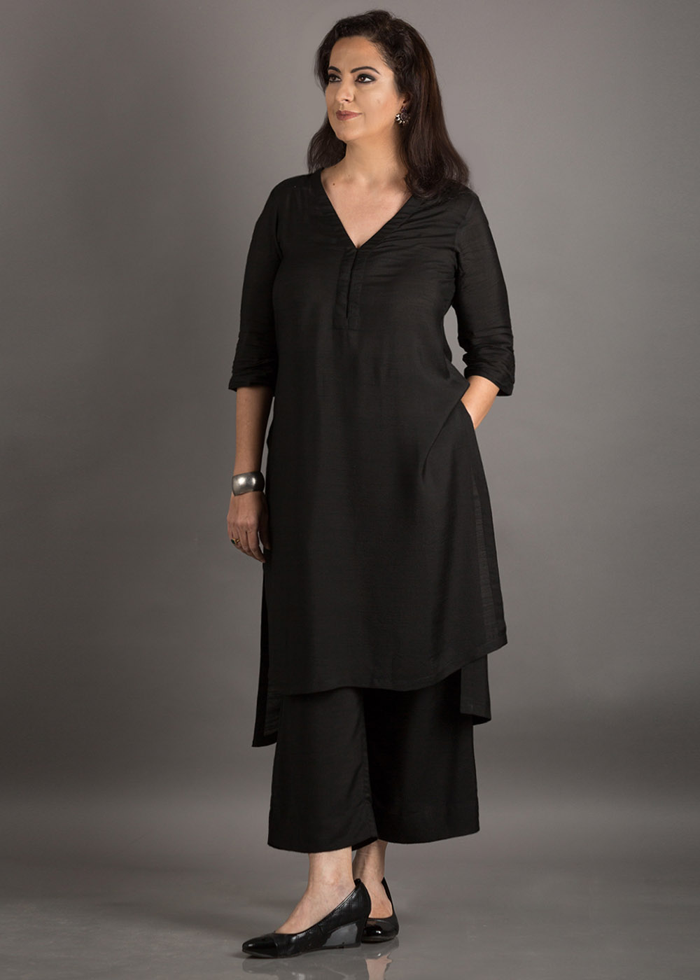 Black Silk Cotton Kurta