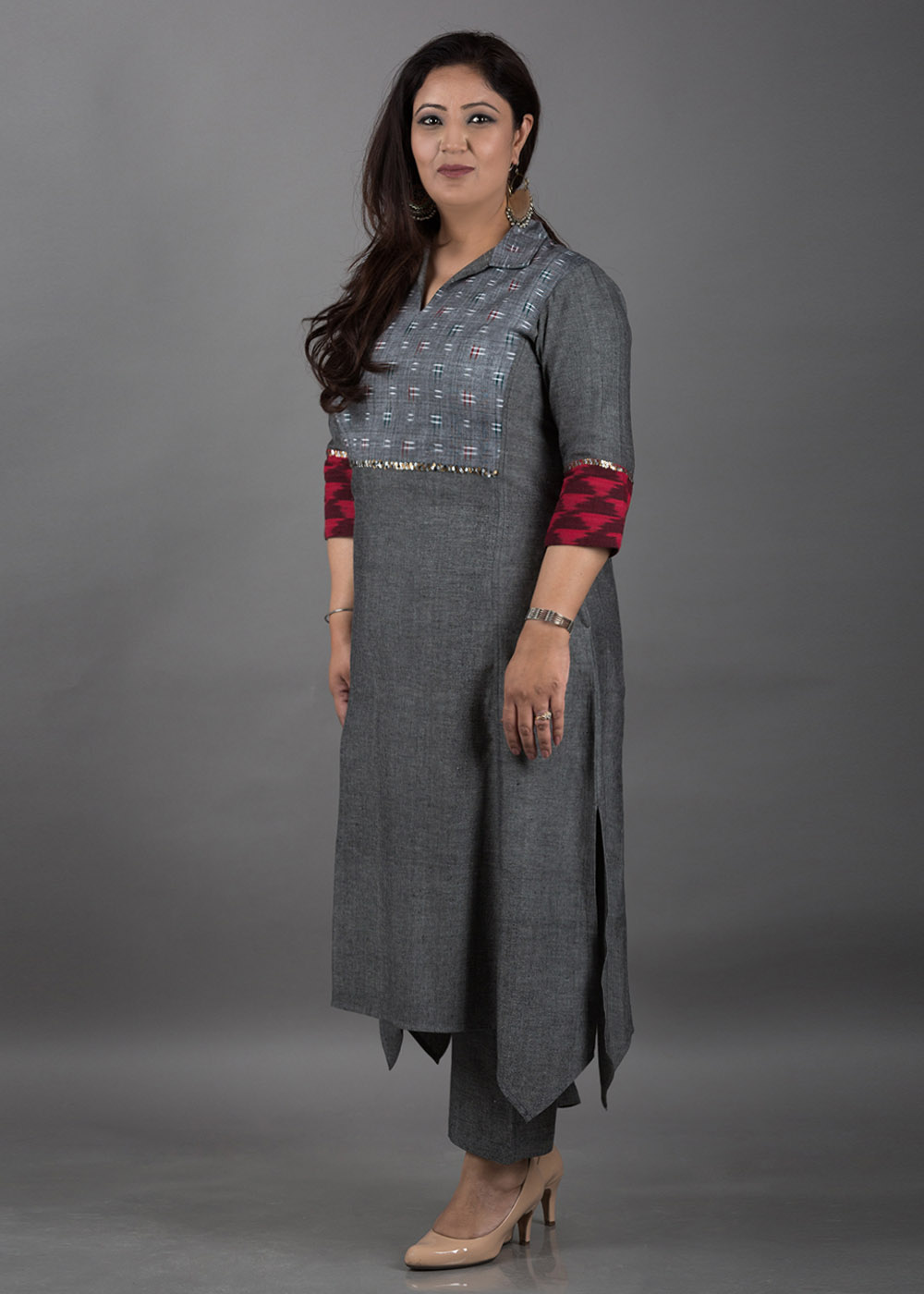 Grey Handwoven Cotton Kurta with Grey Ikat Yolk and Sequin Detailing