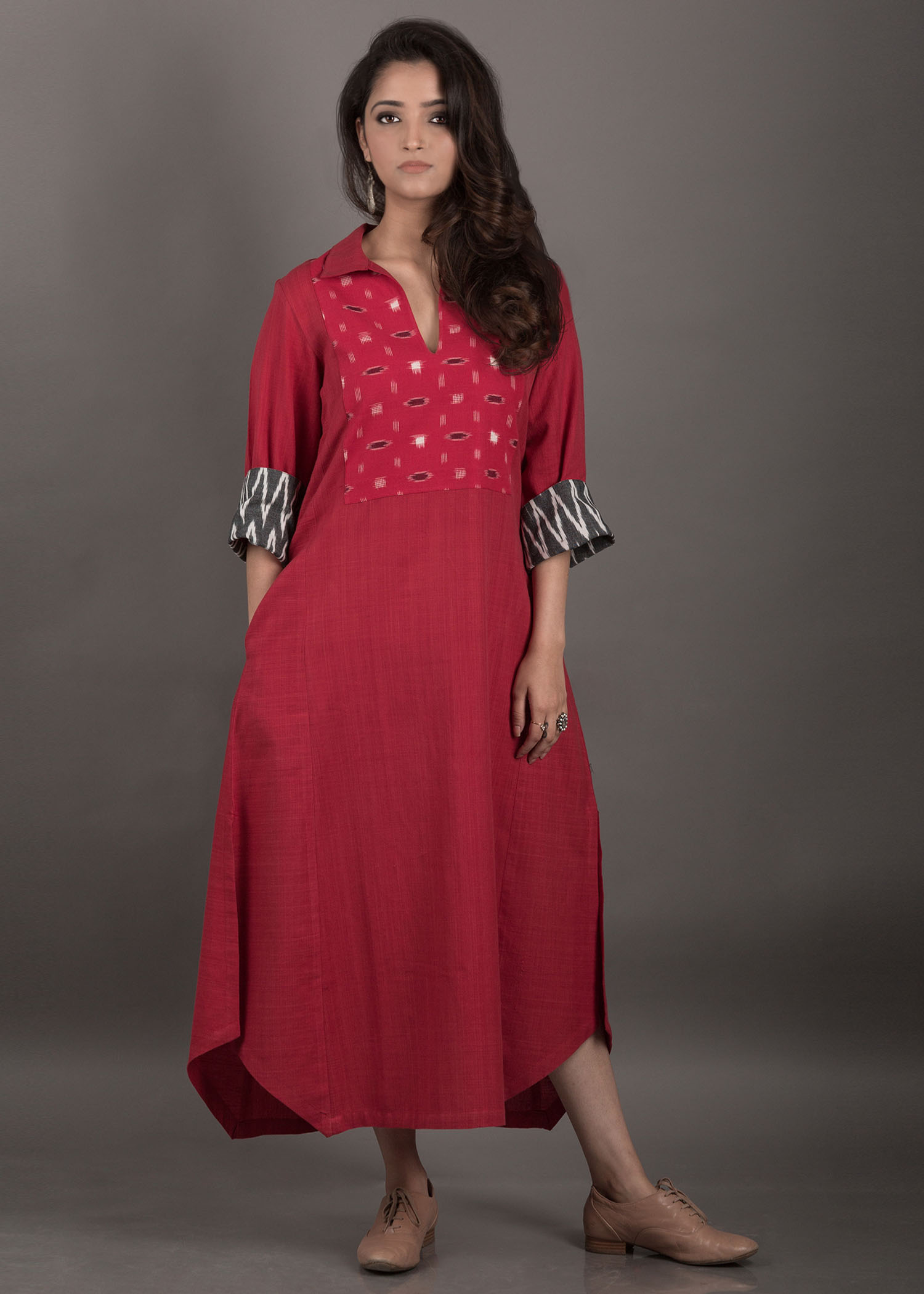 Red Handwoven Cotton Dress/Kurta with with Ikat Yolk and Cuffs