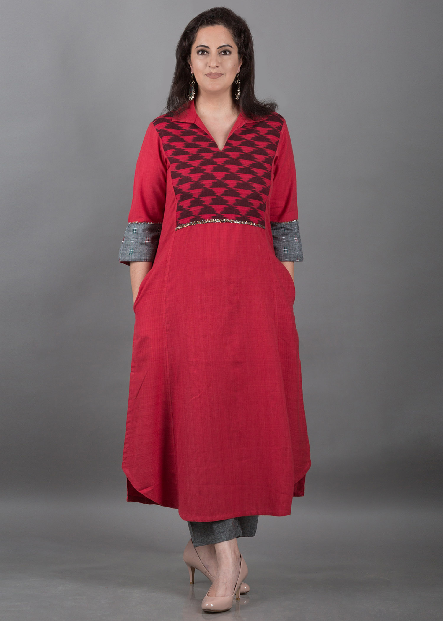 Red Handwoven Cotton Kurta with Red Ikat Yolk and Sequin Detailing