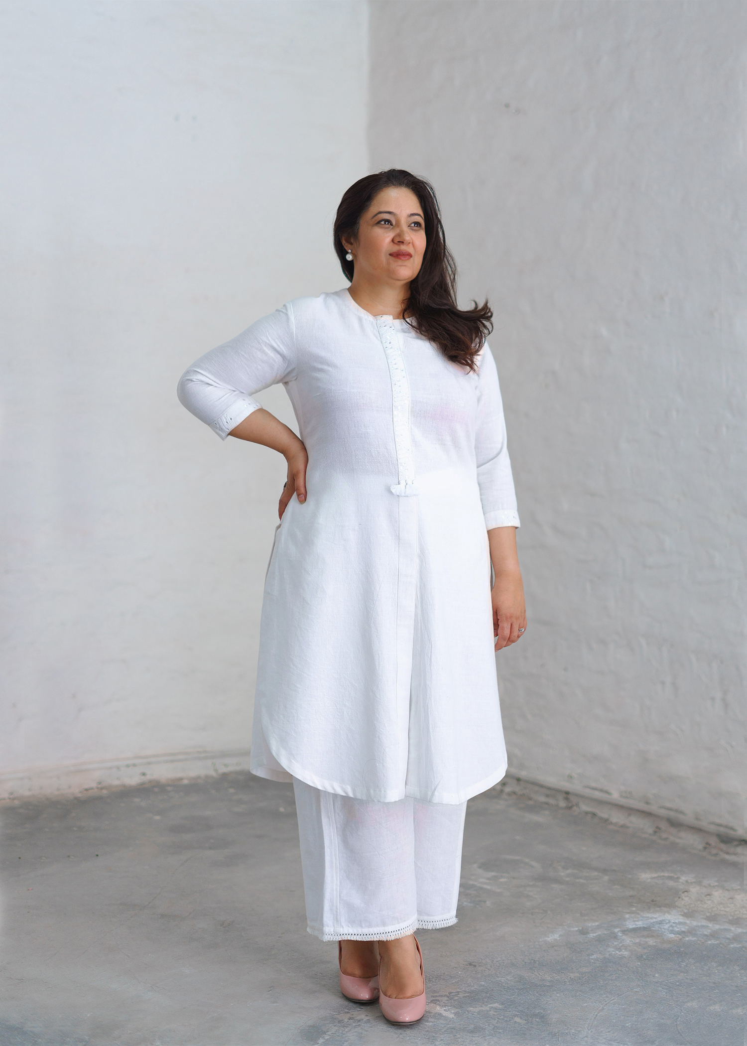 Ivory White Handwoven Khadi Pants with Frayed Lace Trims