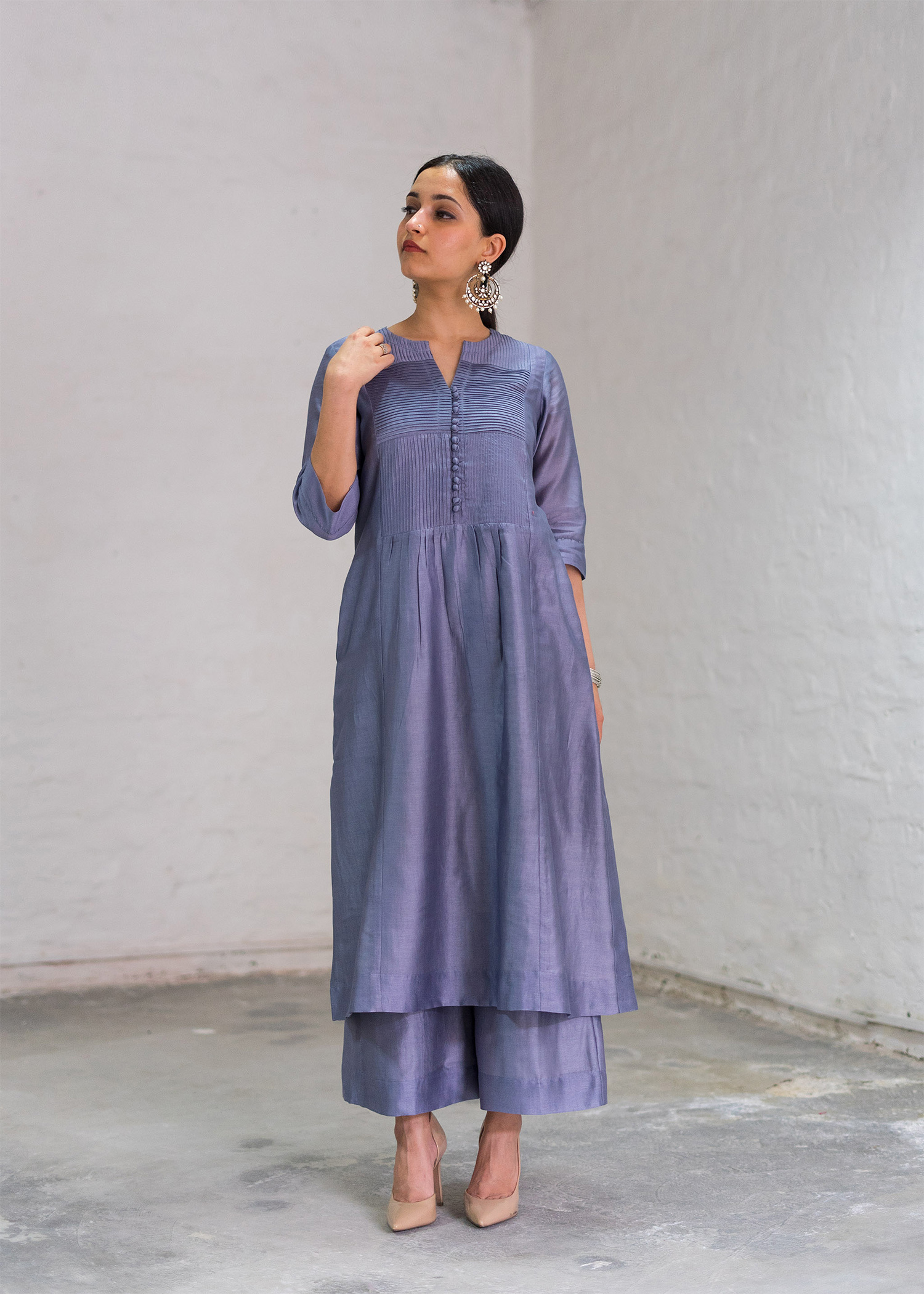 Moon Blue Silk Chanderi Ensemble with Handwork