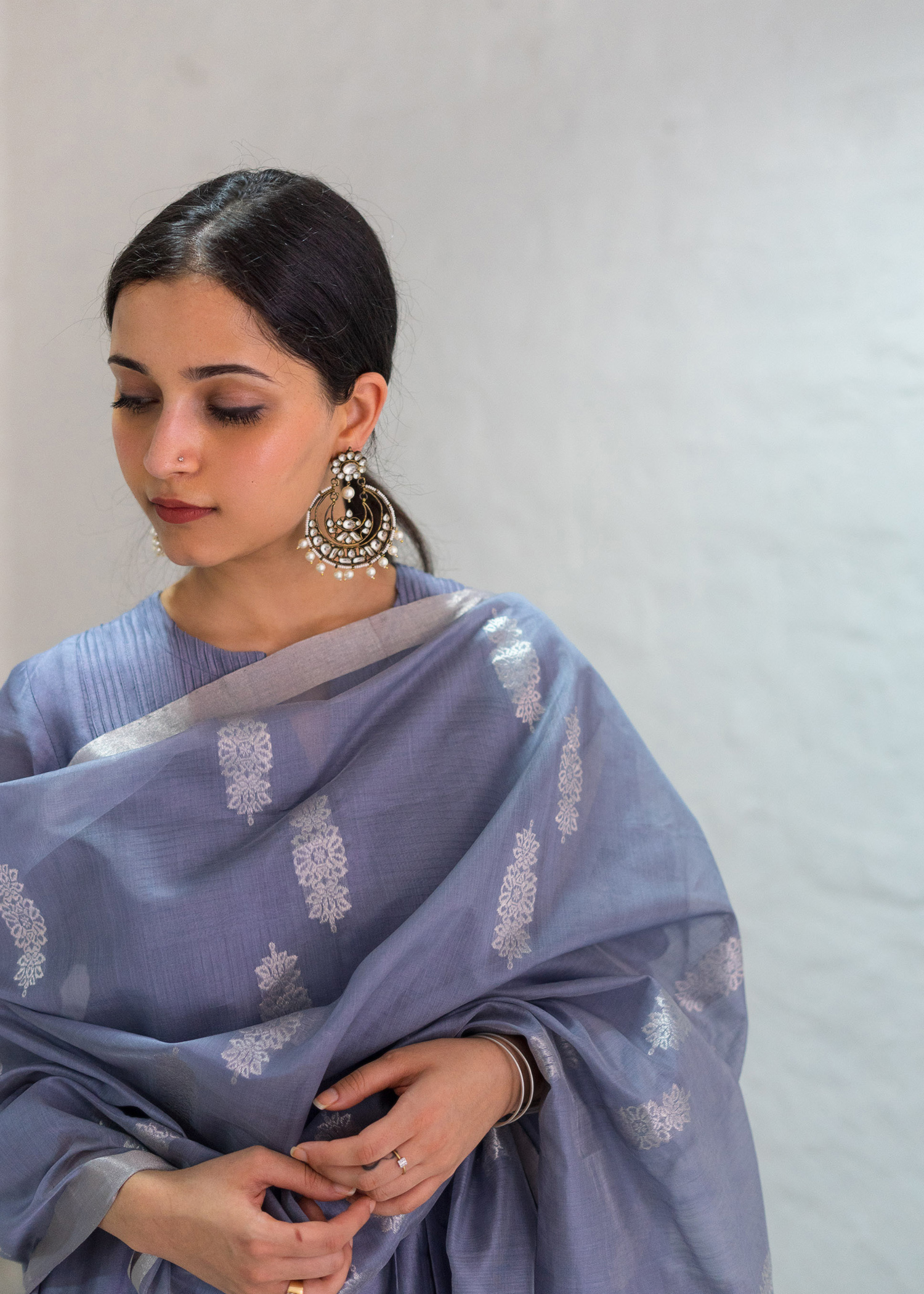 Moon Blue & Silver Booti Silk Chanderi Odhani