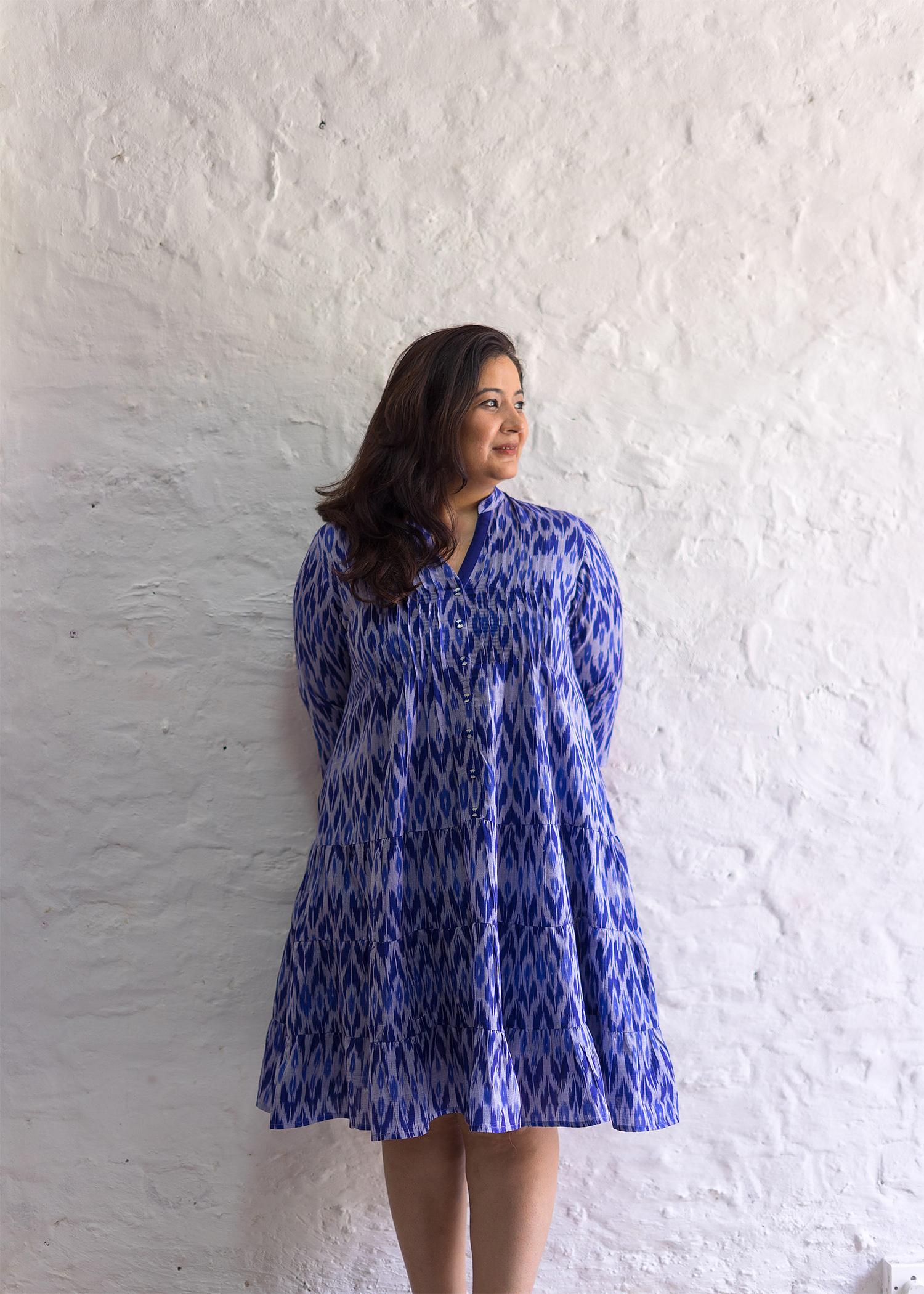 Ink Blue Mercerized Ikat Flared Dress