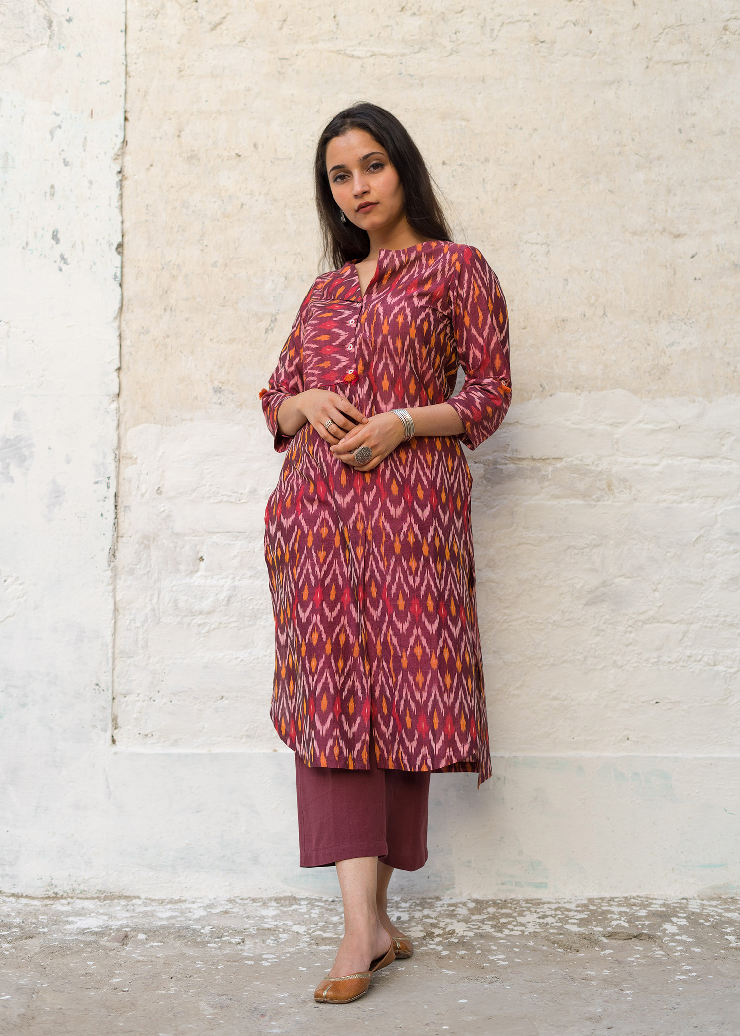 Wine Red Mercerized Ikat Kurta