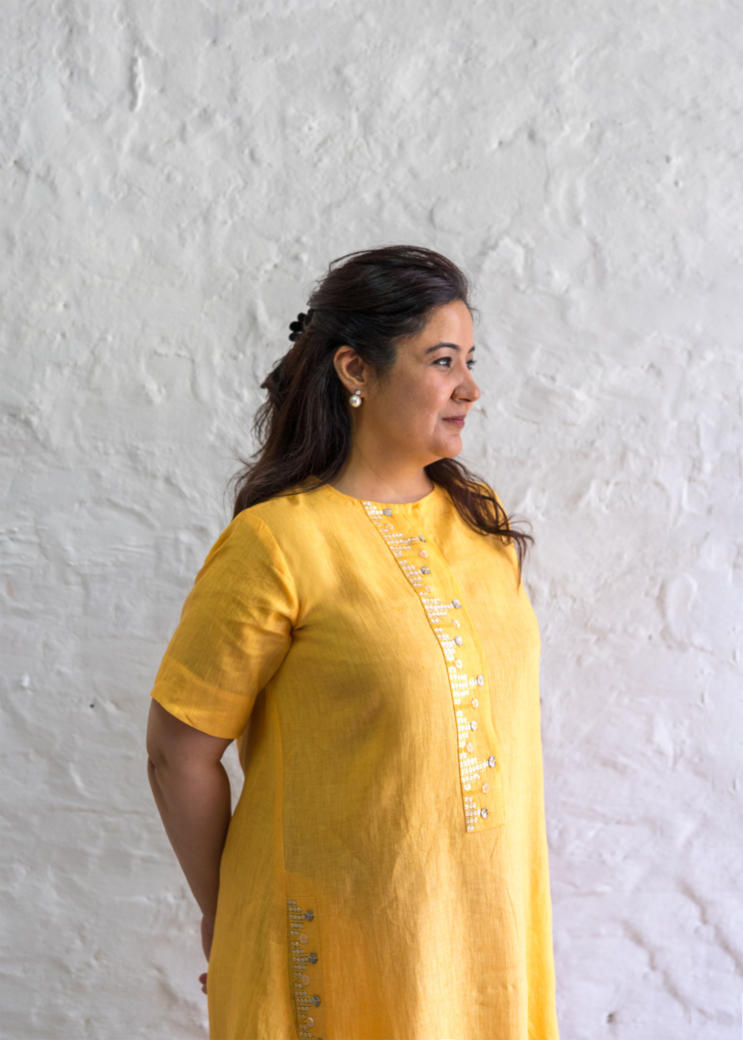 Citrus Honey Pure Linen Tunic with Handwork