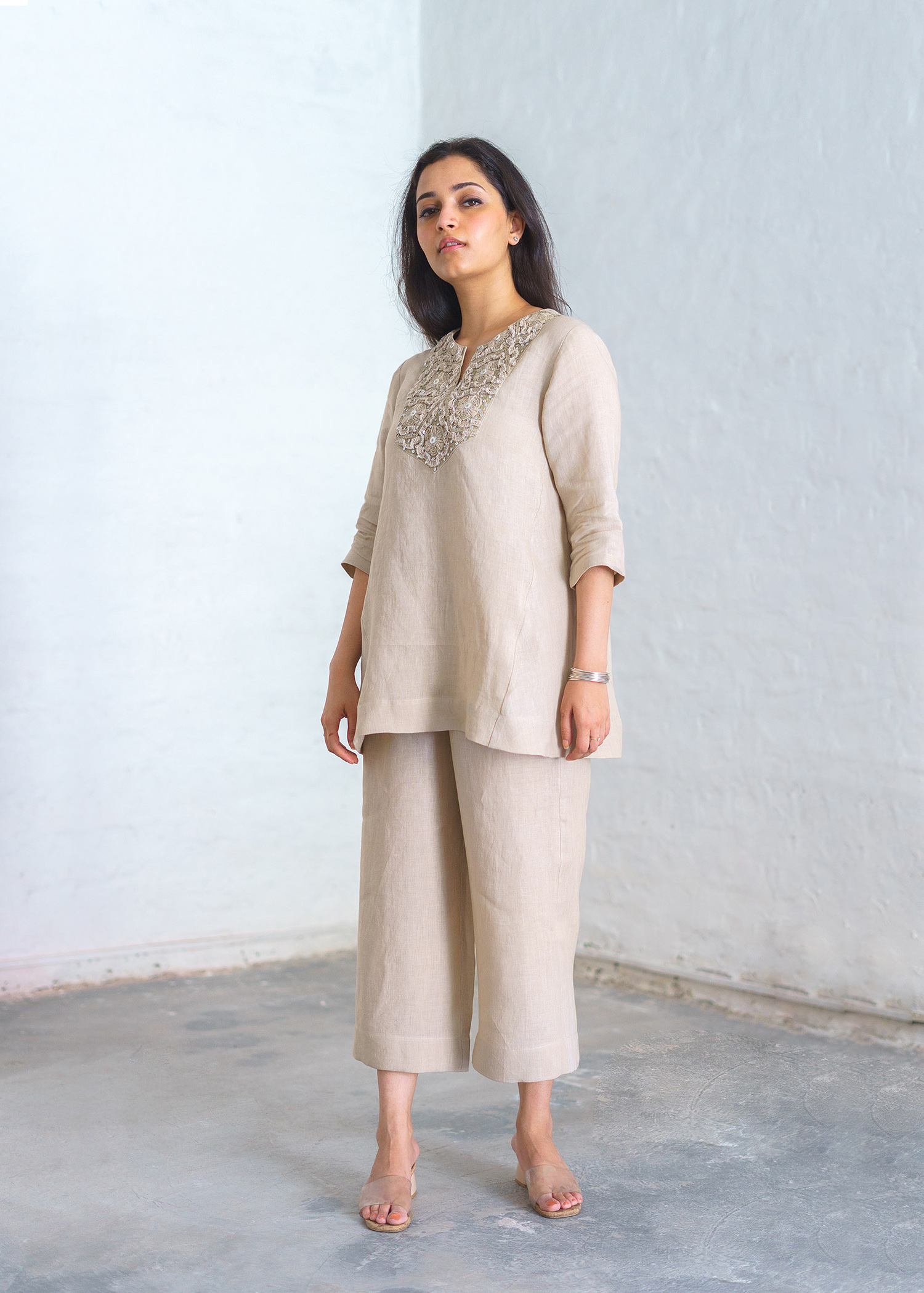Ivory Beige Linen Ensemble with Cut-Fray Handwork