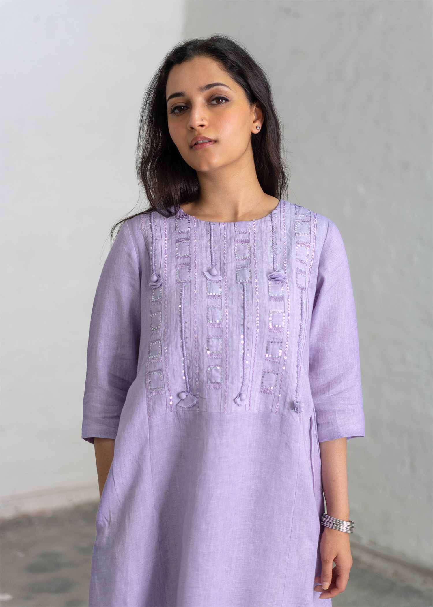 Lavender Linen Tunic with Sequin & Handwork