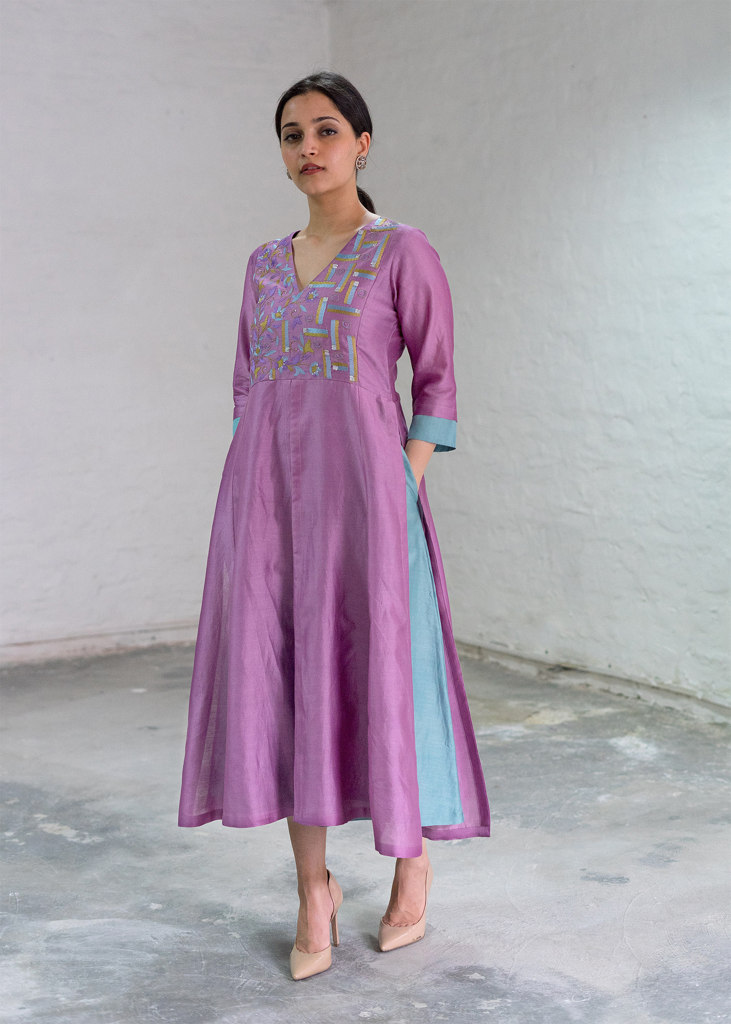 Lavender & Aqua Silk Chanderi Dress with Handwork