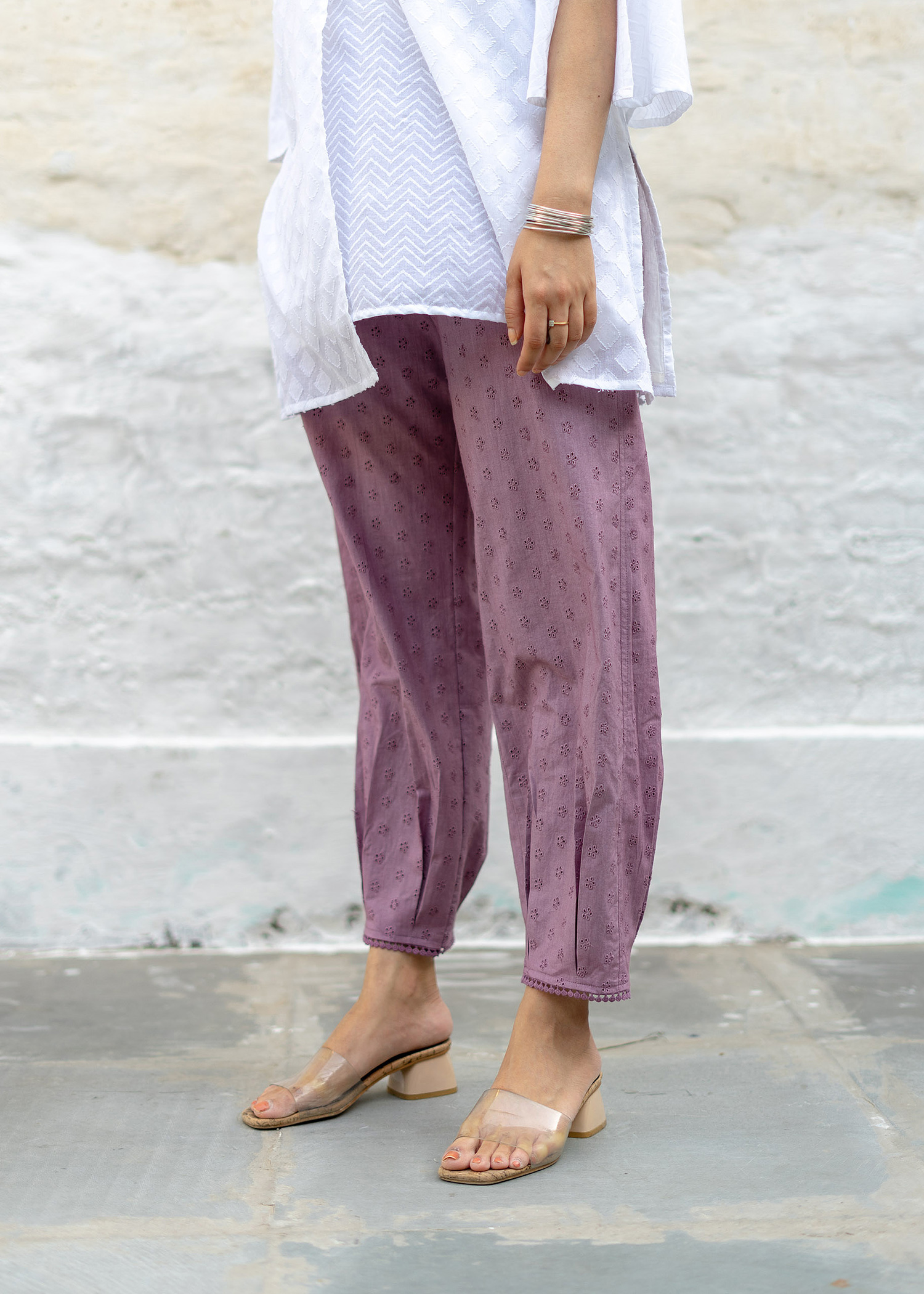 Lavender Hakoba Pleated Pants with Lace Trim