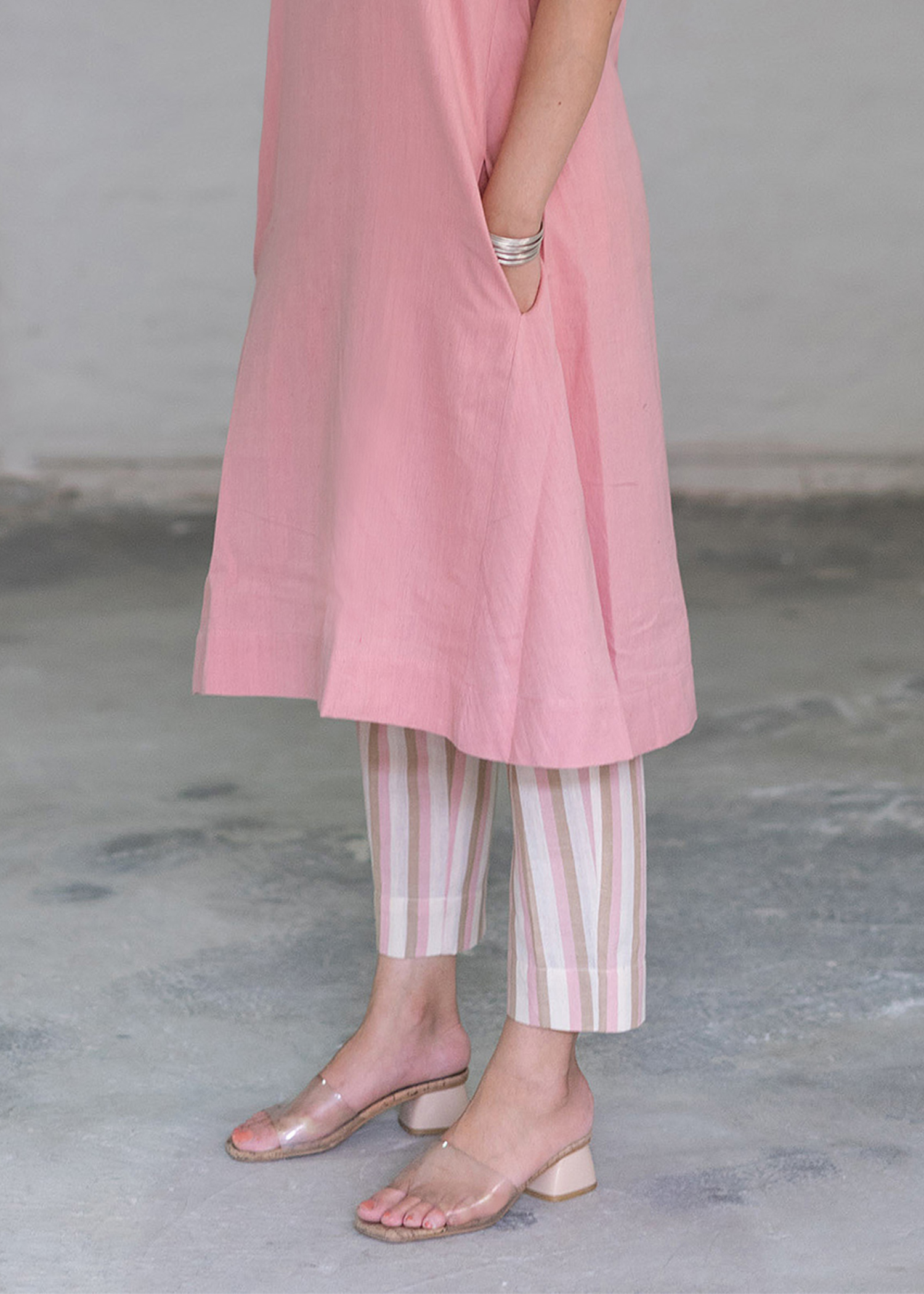 Baby Pink Striped Handwoven Cotton Slim Pants