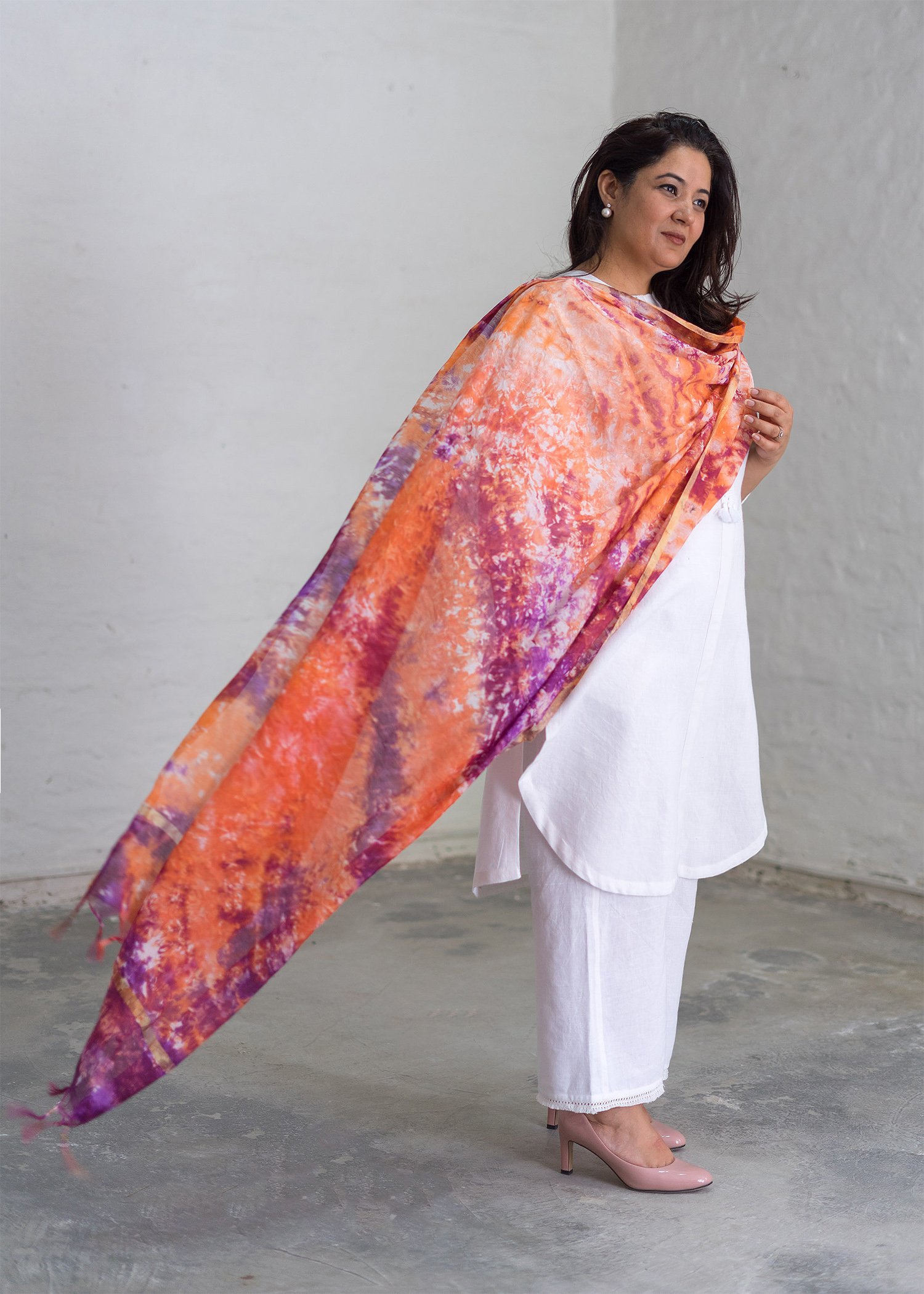 Tangerine & Grape Chanderi Dupatta