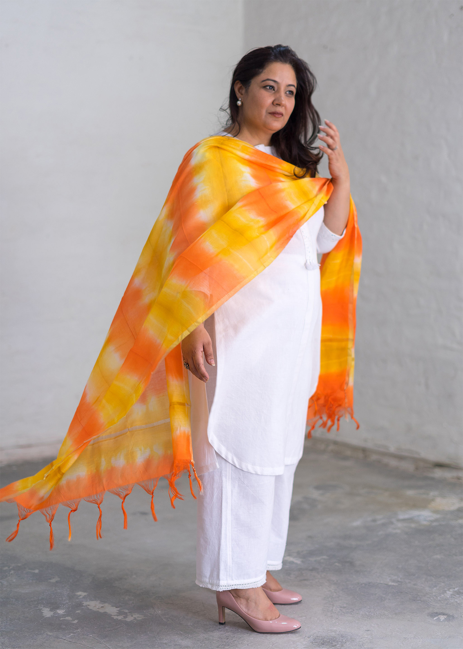 Citrus & Lemon Chanderi Dupatta