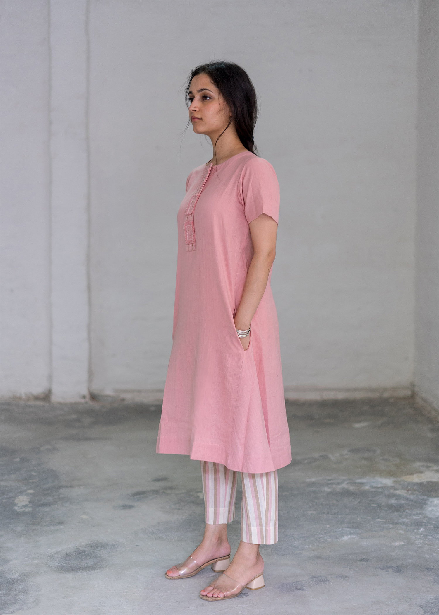 Baby Pink Handwoven Cotton Kurta with Cut-Fray Handwork