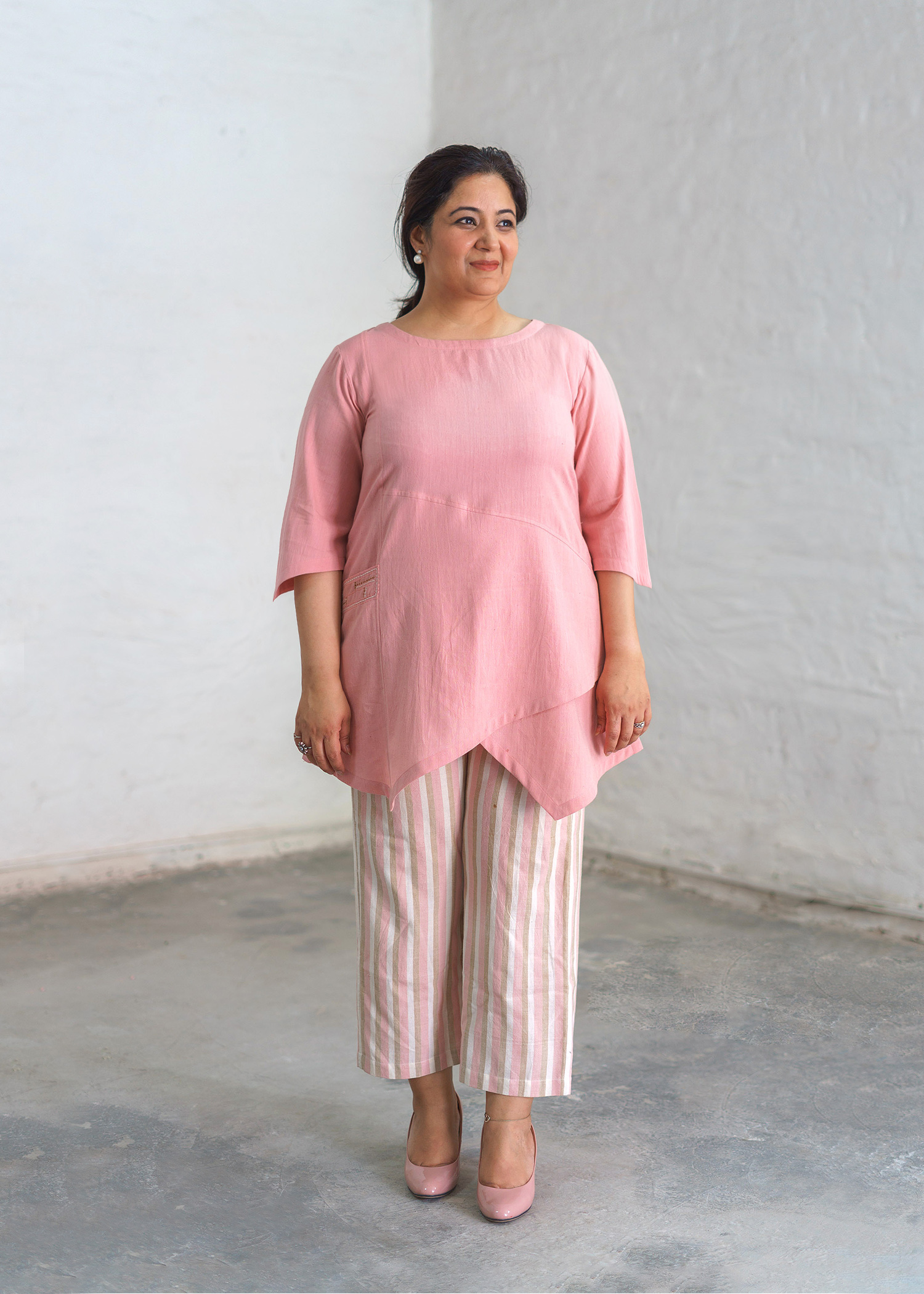 Baby Pink Handwoven Cotton Asymmetrical Top