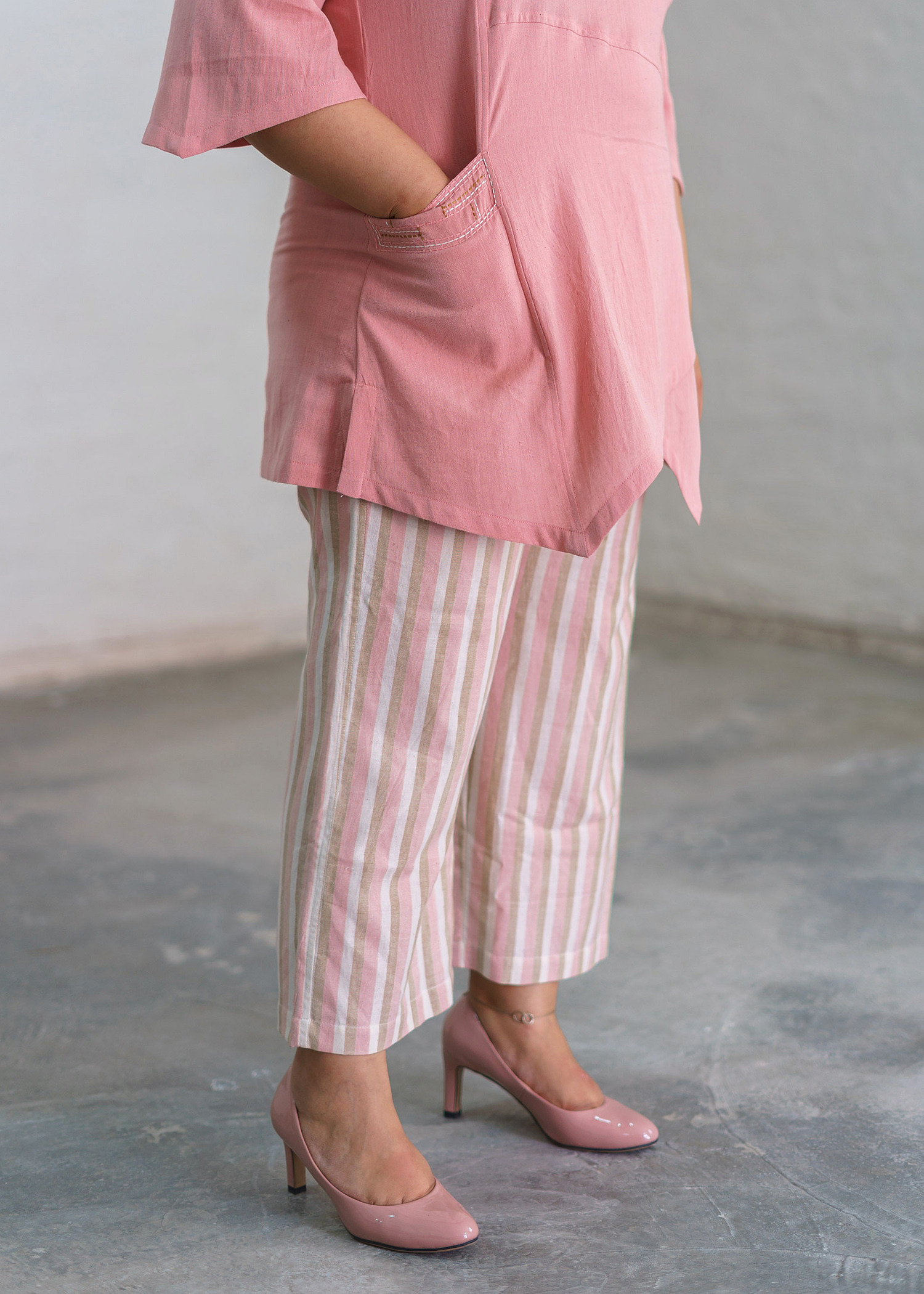 Baby Pink Striped Handwoven Cotton Loose Pants