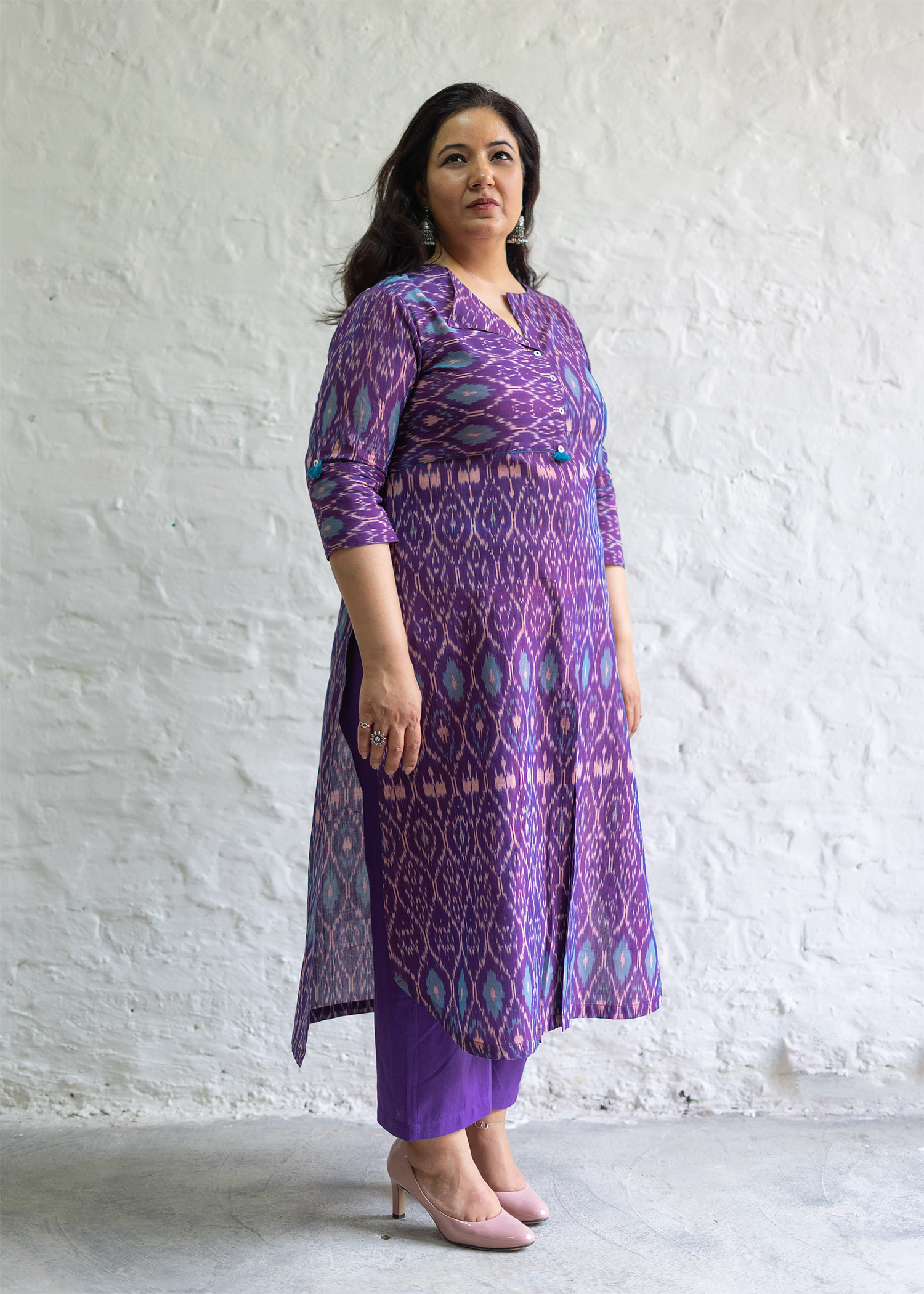 Grape Purple Mercerized Ikat Kurta