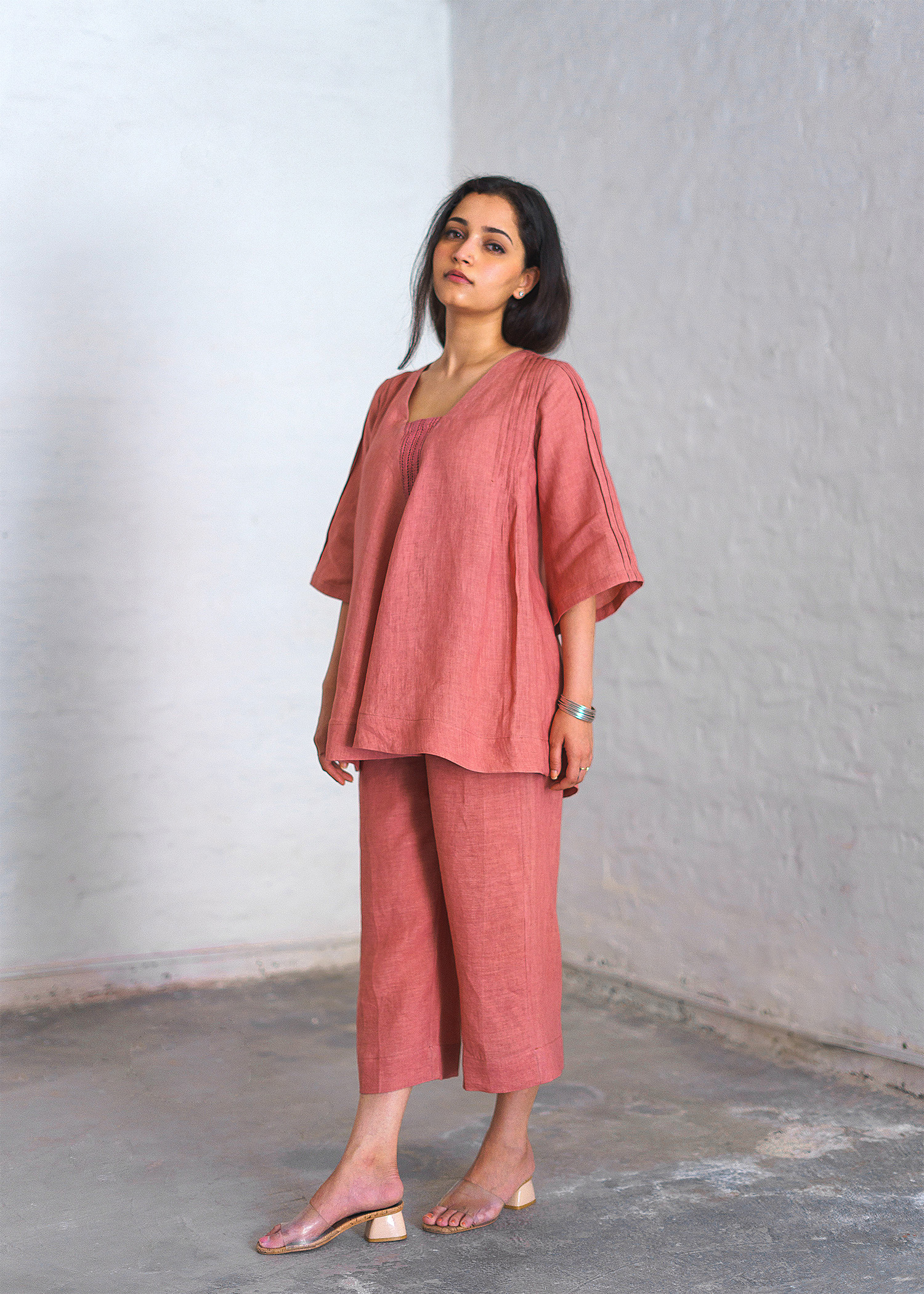 Rose Pink Pure Linen Ensemble with Lace