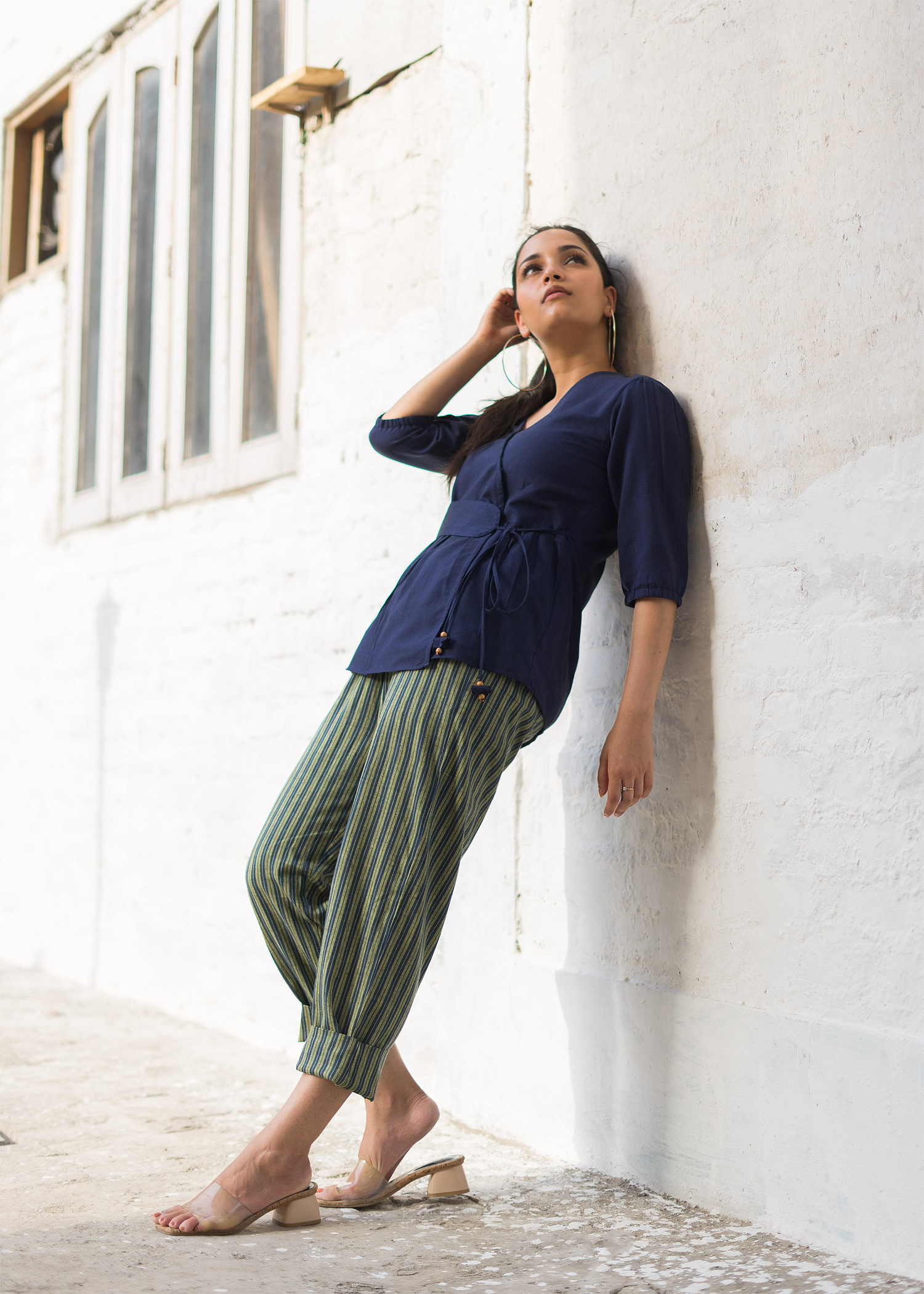 Navy Handwoven Cotton Wrap Top with Belt