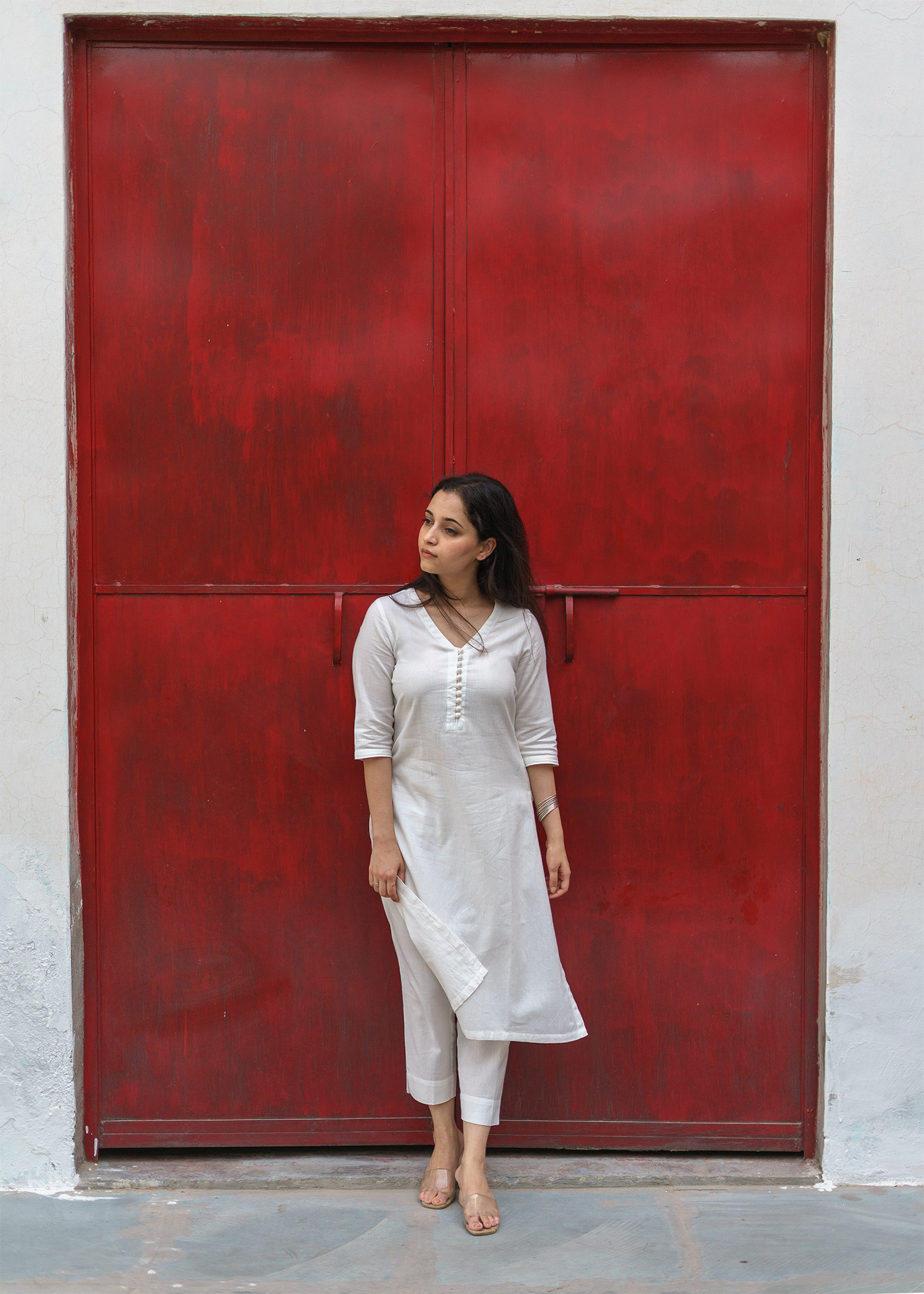 Ivory White Handwoven Khadi Ensemble