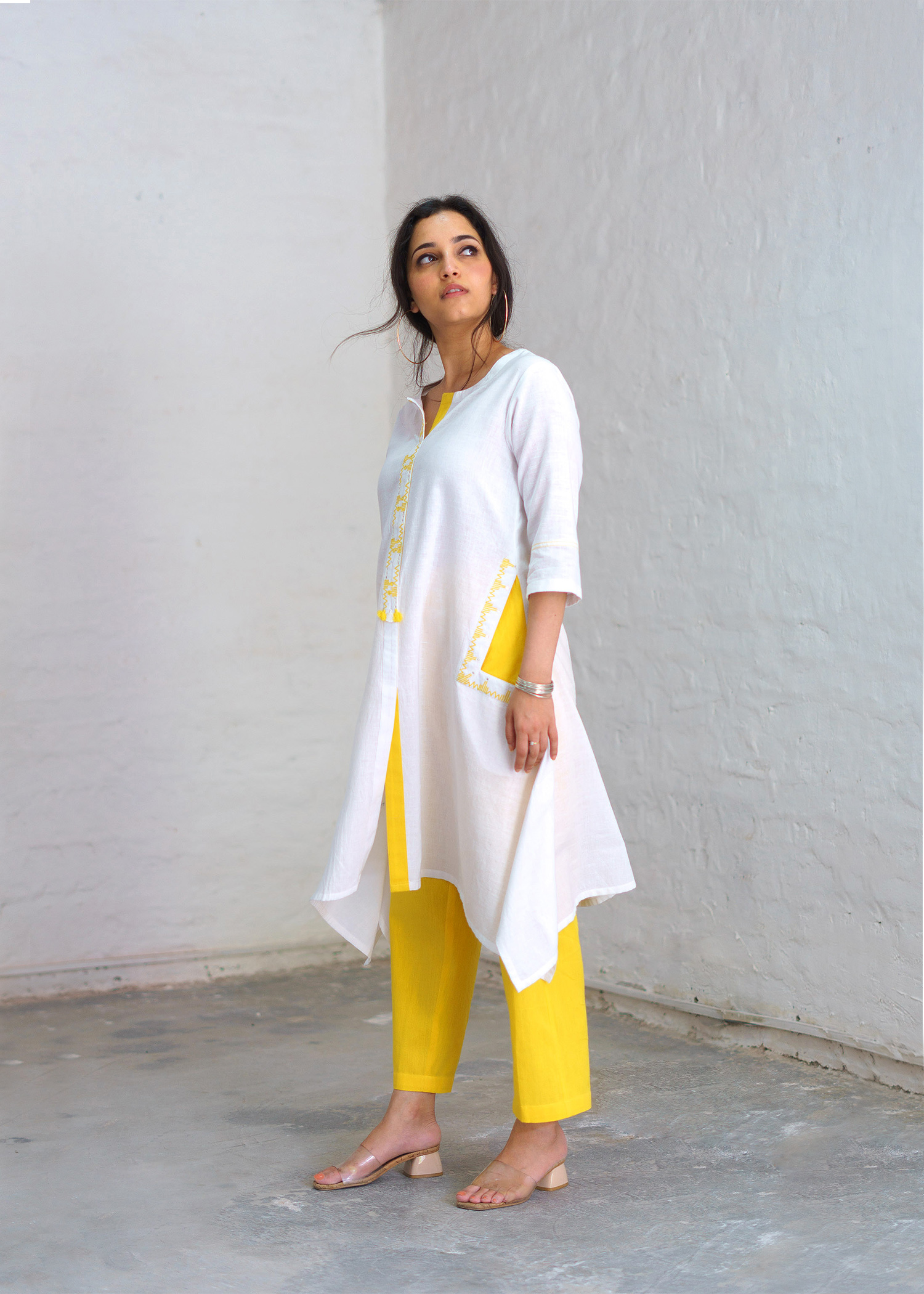 Ivory & Canary Yellow Handwoven Khadi Kurta with Abla & Handwork