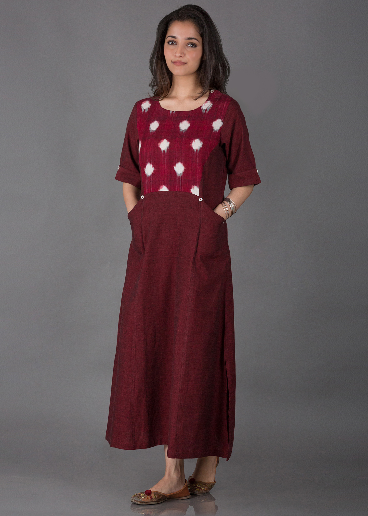 Maroon & White Handwoven Cotton & Ikat Dress