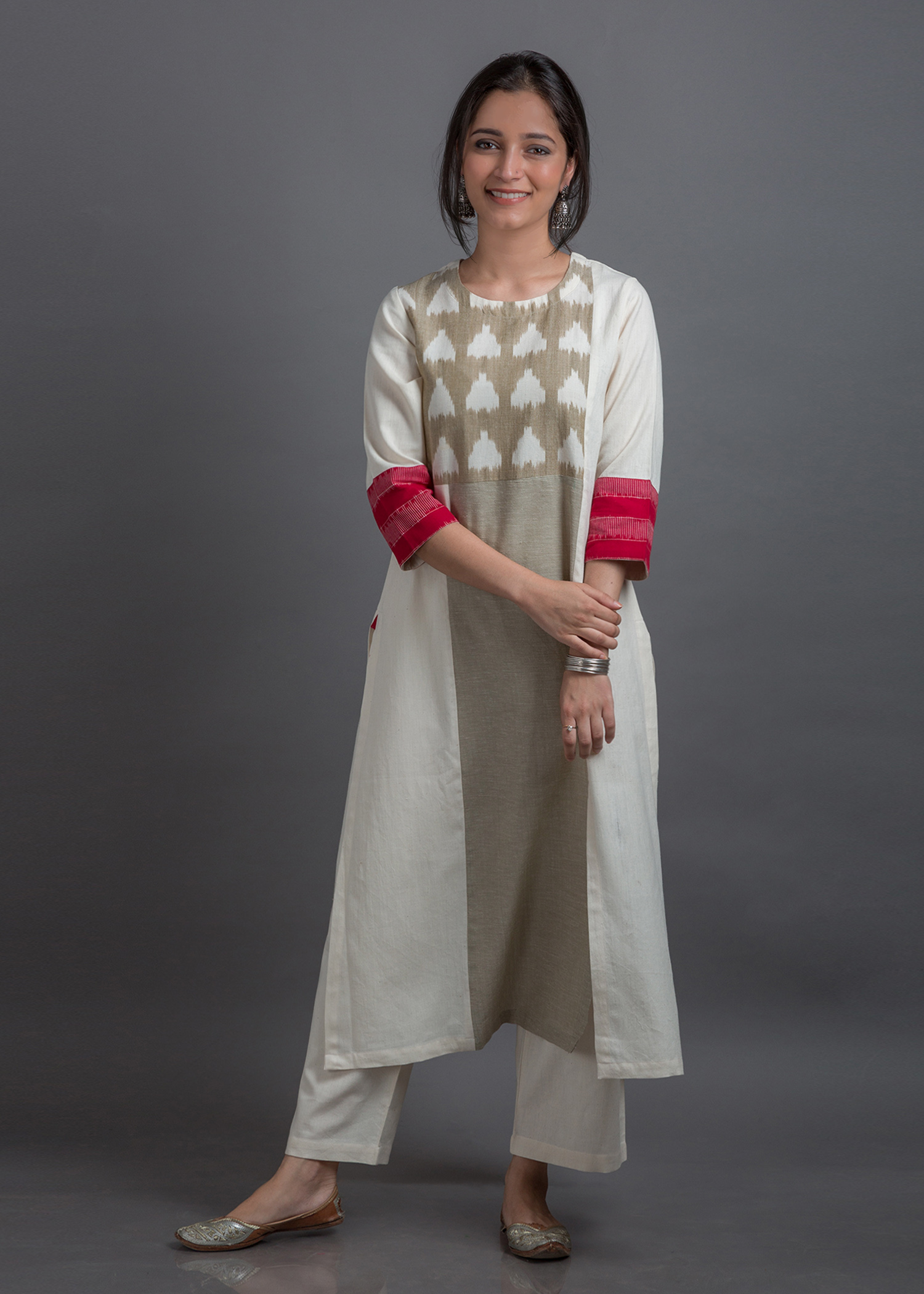 Mogra Edit - Beige & Off-White Half Ikat Yolk Handwoven Cotton Kurta with Red Ikat Cuffs