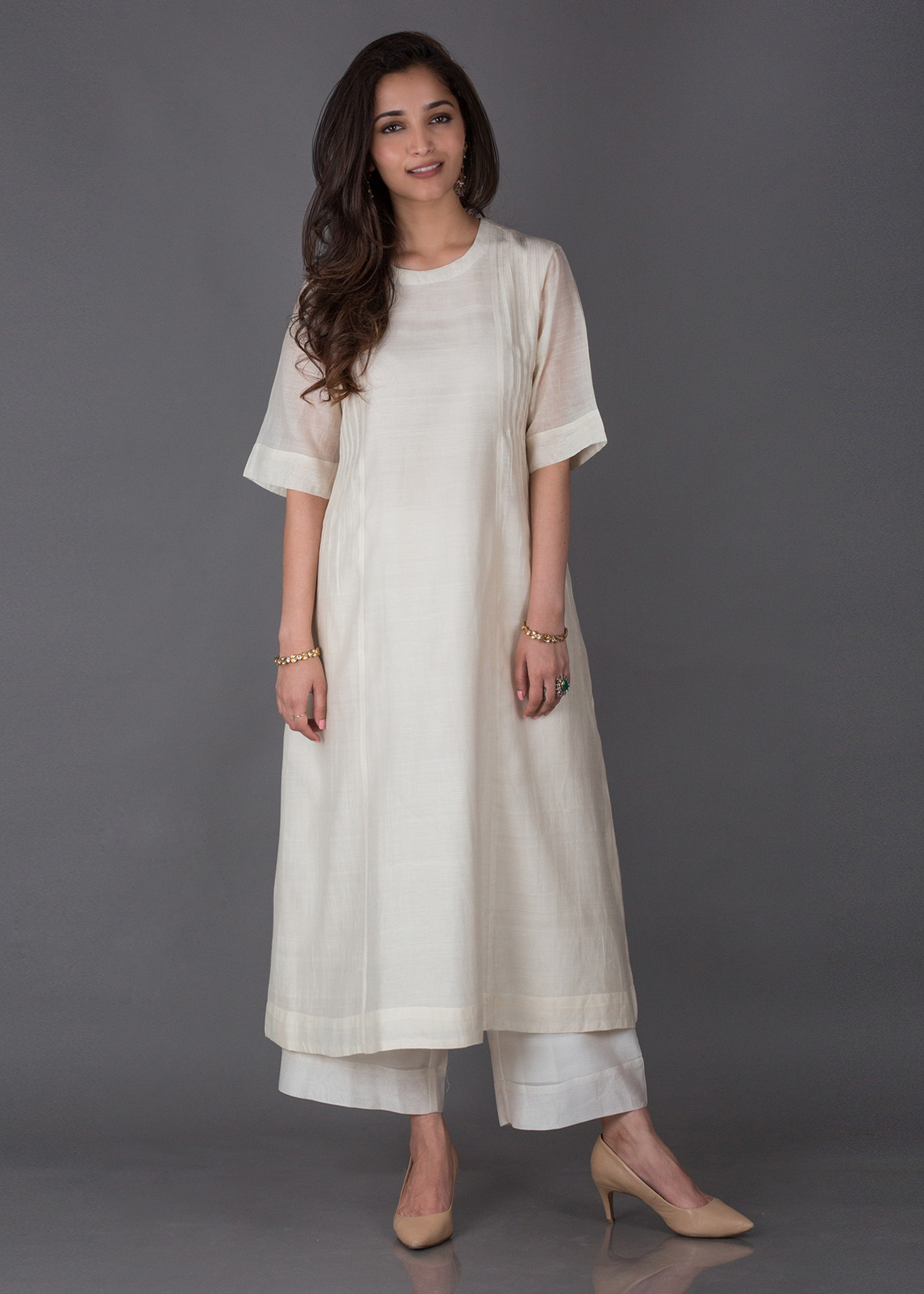 Off-White Silk Chanderi Ensemble