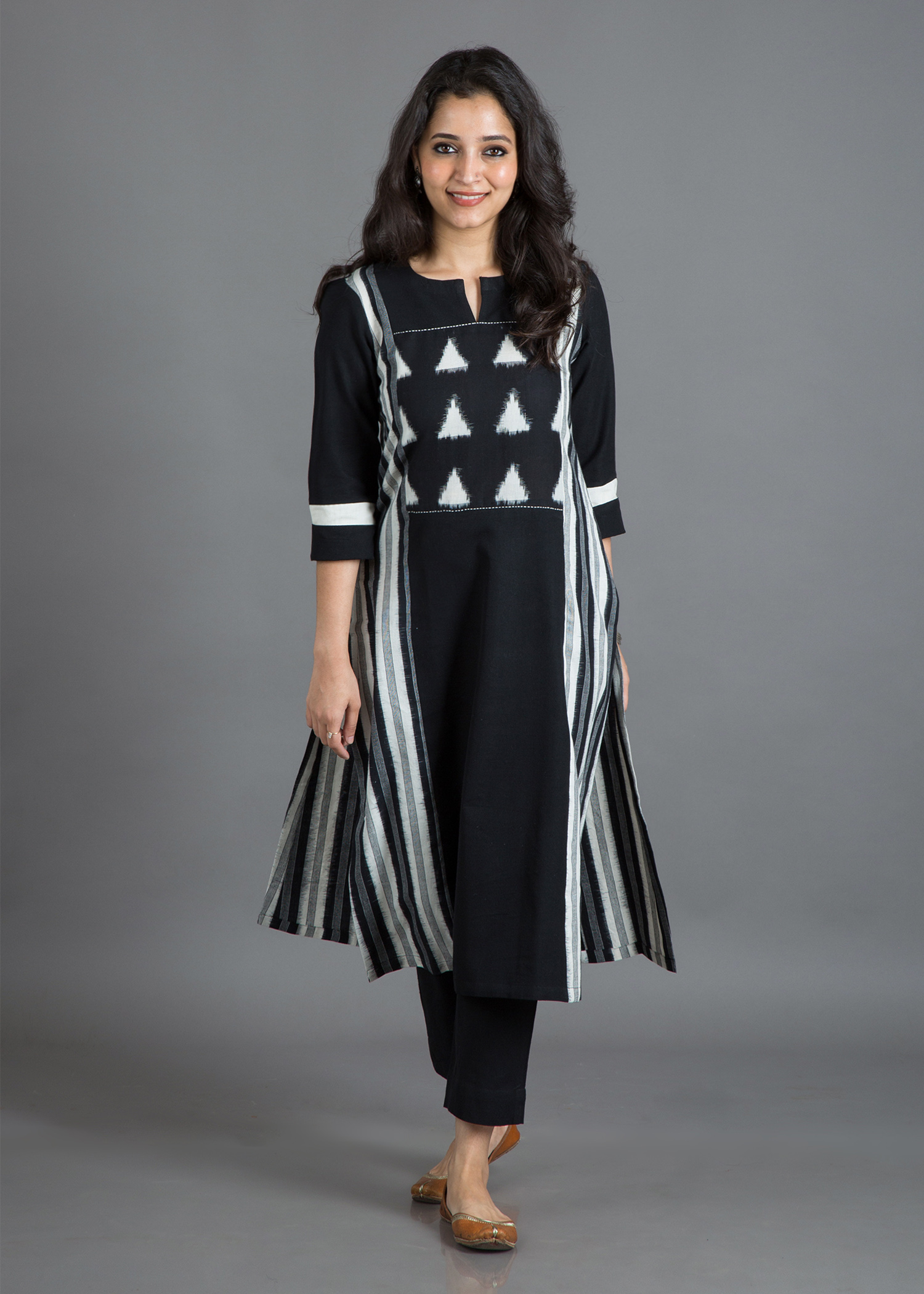 Ink Black & Off-White Handwoven Cotton Kurta with Ikat Yoke