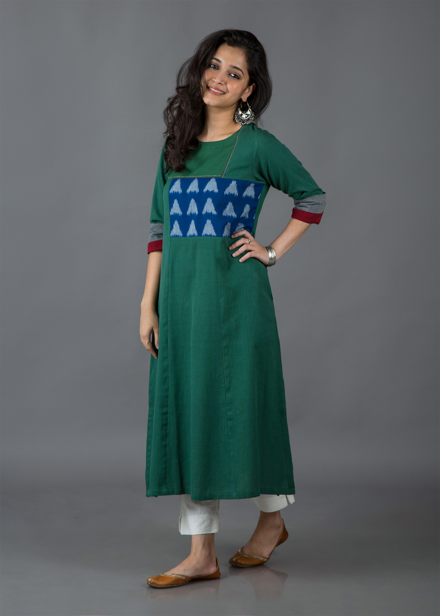 Fern Green & Blue Handwoven Cotton Kurta with Ikat Yoke