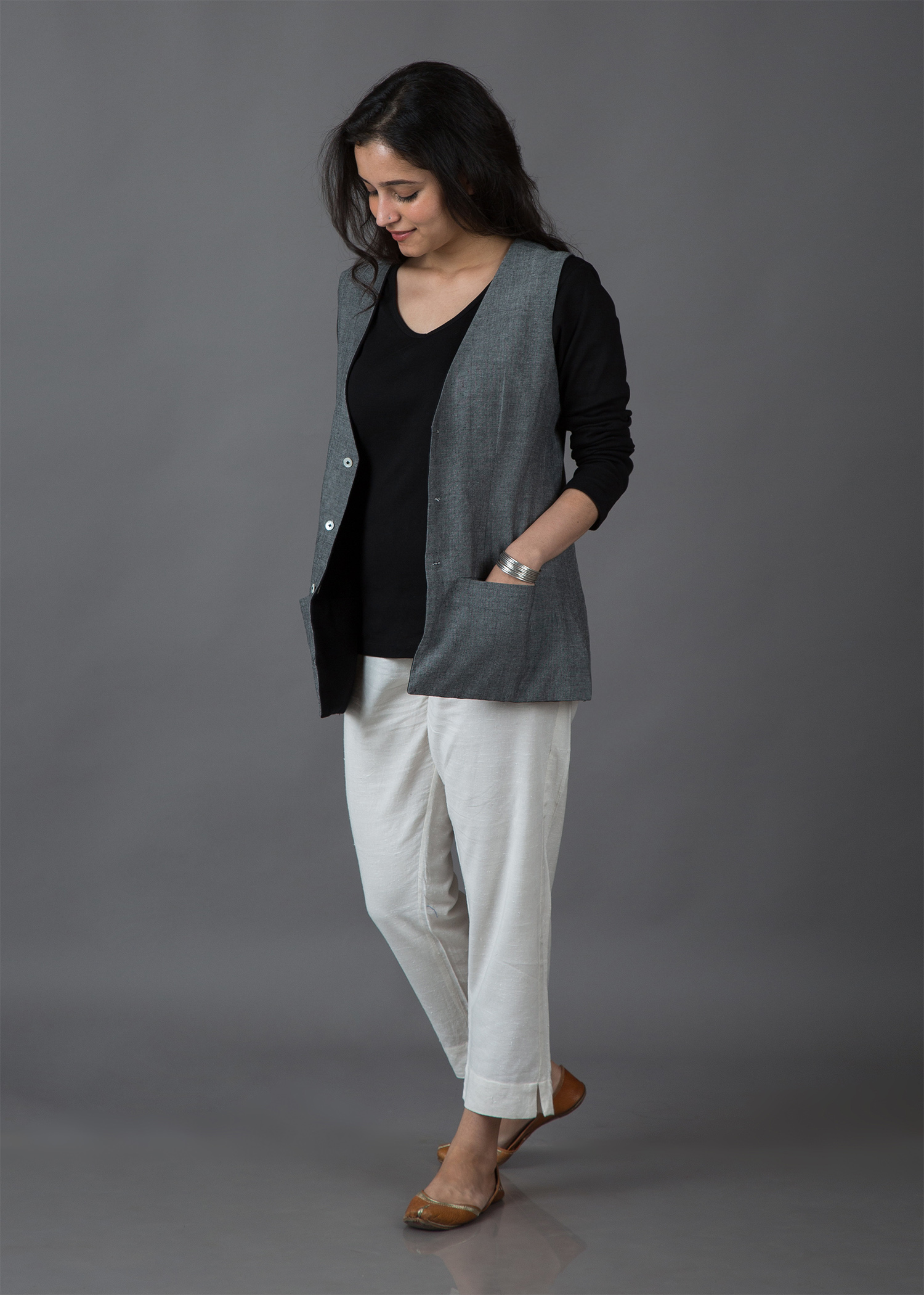 Metal Grey & Ink Black Handwoven Cotton Reversible Jacket