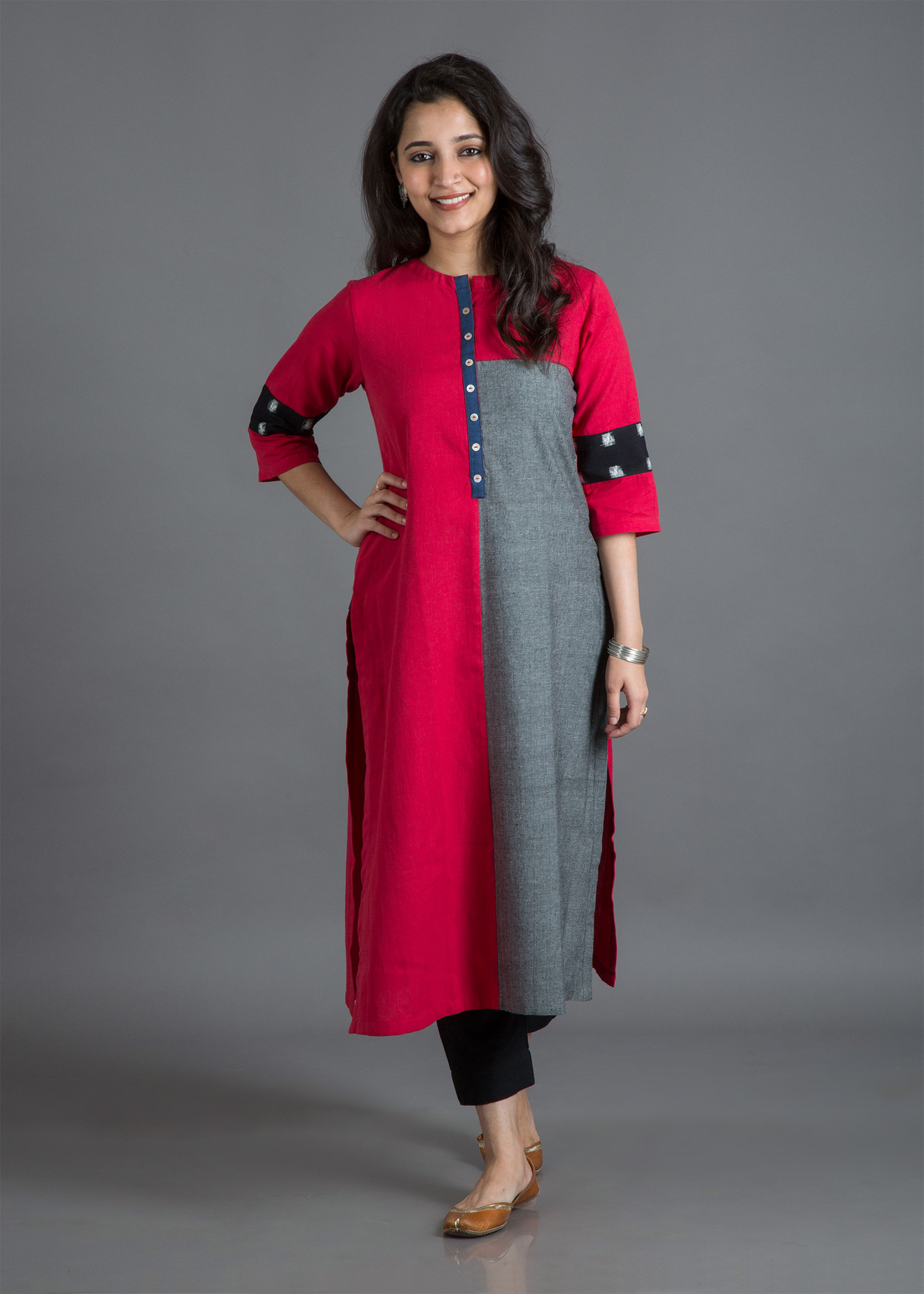 Candy Red & Steel Grey Handwoven Cotton & Ikat Kurta