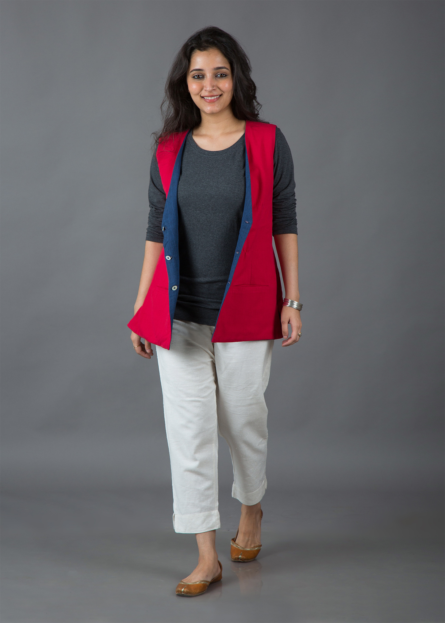Candy Red & Lapis Blue Handwoven Cotton Reversible Jacket