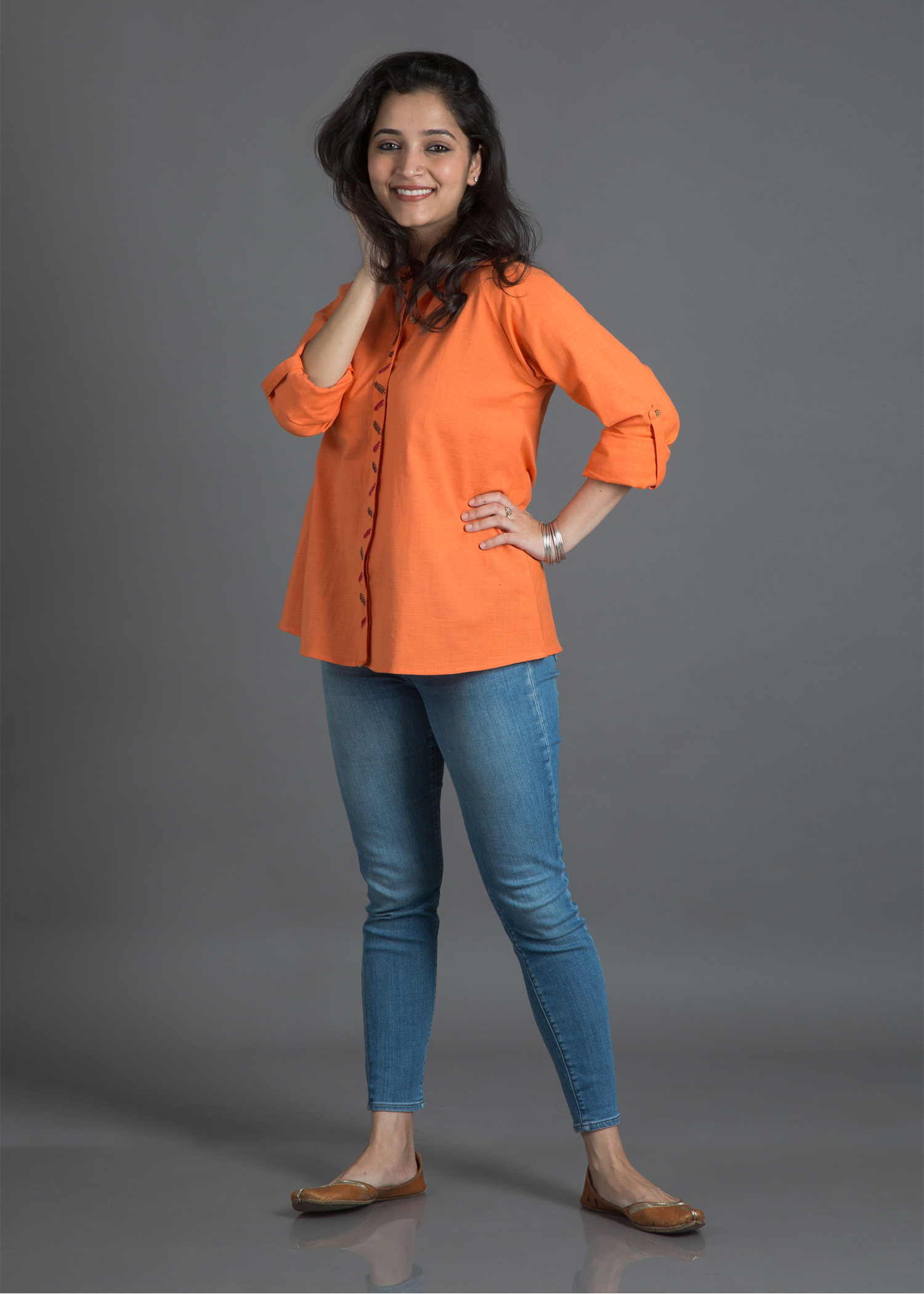 Tangerine Handwoven Cotton Shirt with Handwork