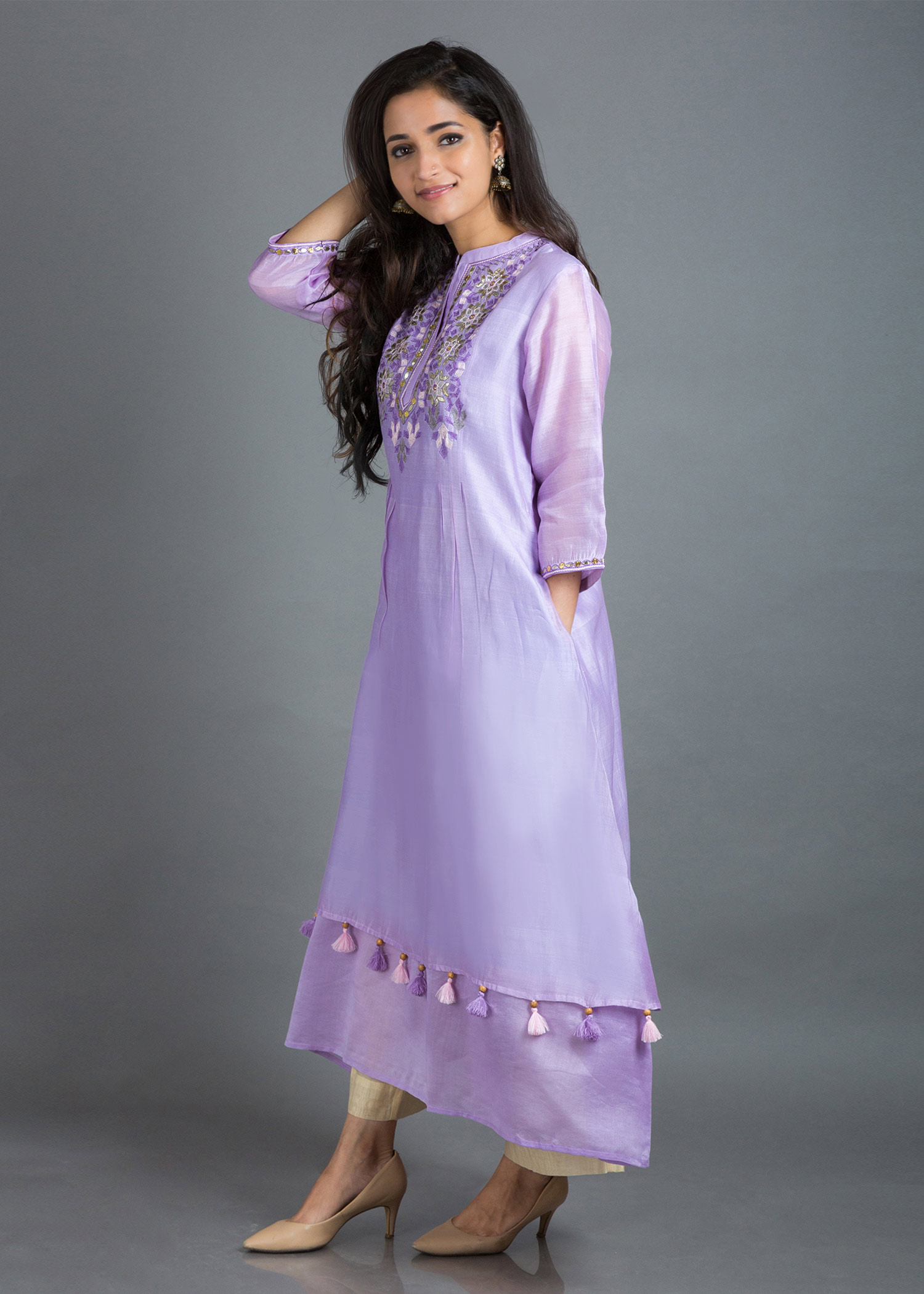 Lavender Silk Chanderi Tunic with Gota Patti & Threadwork